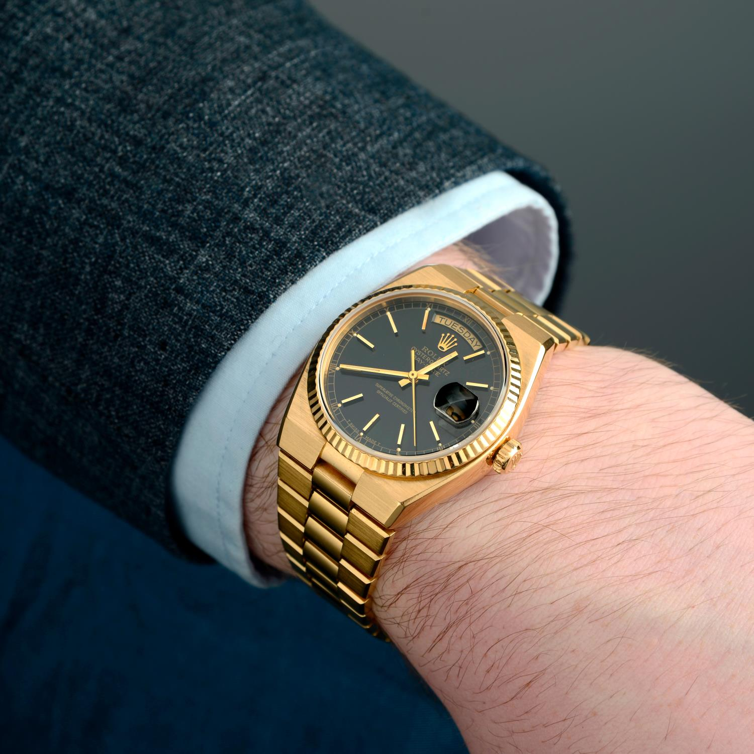 ROLEX - an Oysterquartz Day-Date bracelet watch. - Image 3 of 5