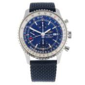 BREITLING - a Navitimer World GMT chronograph wrist watch.