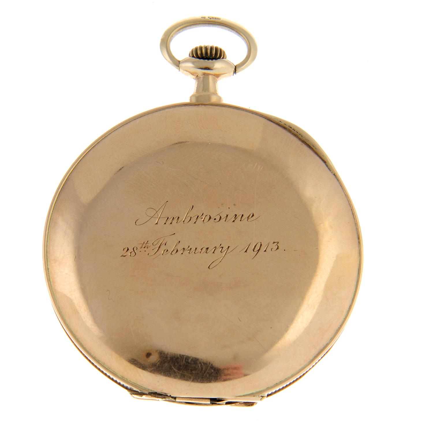 An open face pocket watch. - Image 2 of 4