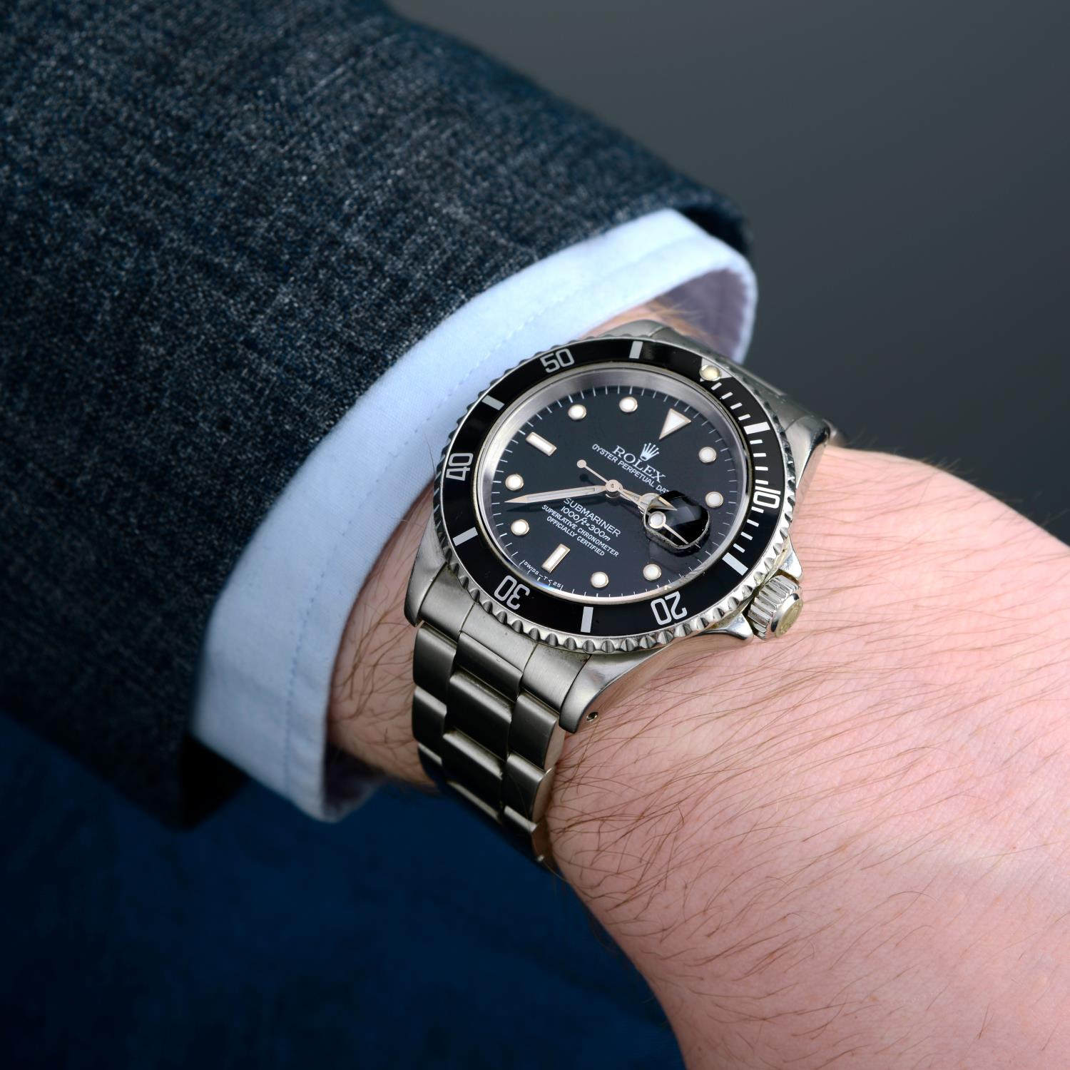 ROLEX - an Oyster Perpetual Date Submariner bracelet watch. - Image 3 of 5