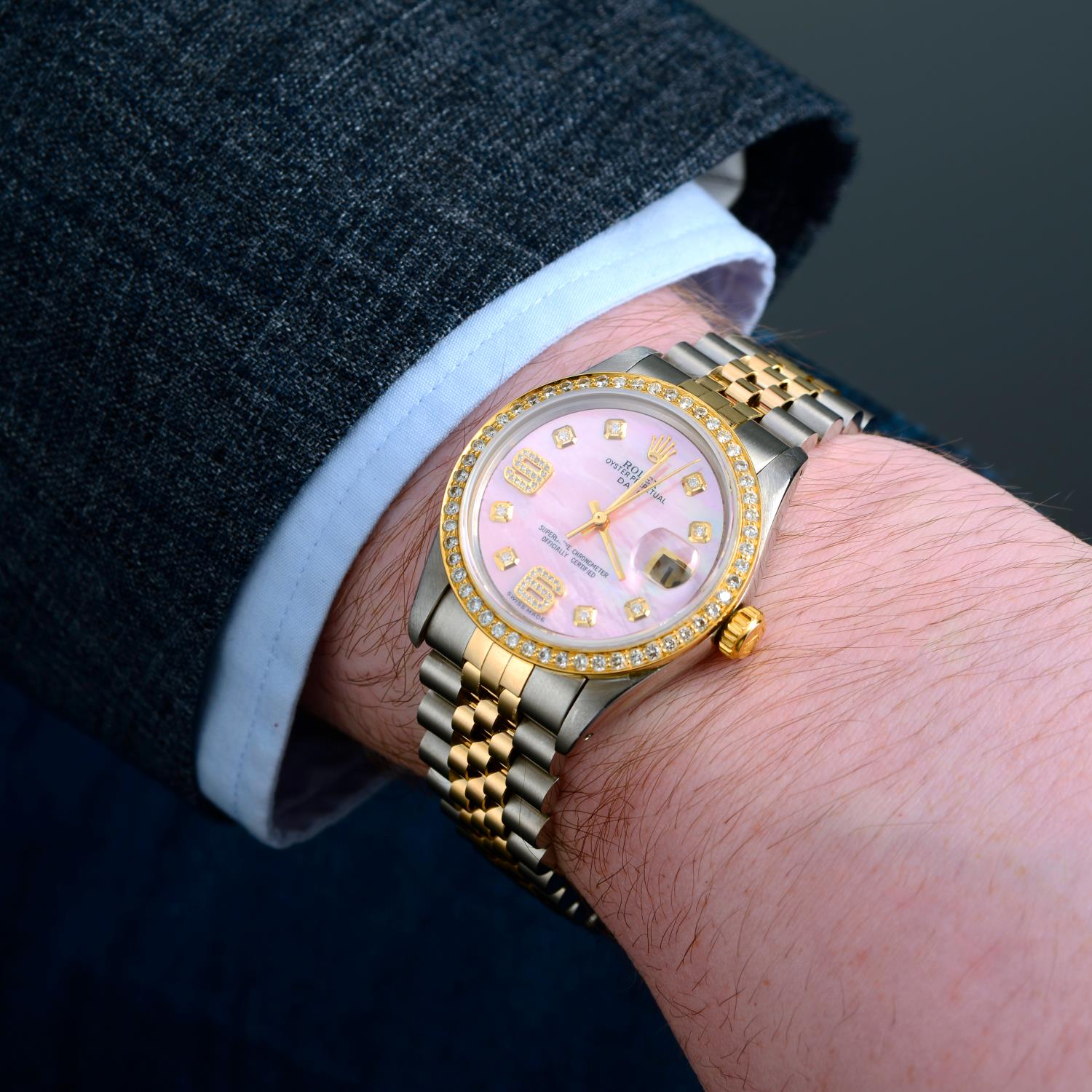 ROLEX - an Oyster Perpetual Date bracelet watch. - Image 3 of 5