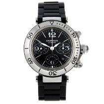 CARTIER - a Pasha chronograph bracelet watch.