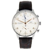 IWC - a Portuguese chronograph wrist watch.