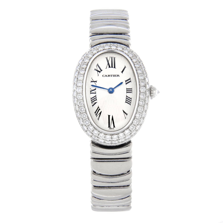 CARTIER - a Baignoire Joaillerie bracelet watch.