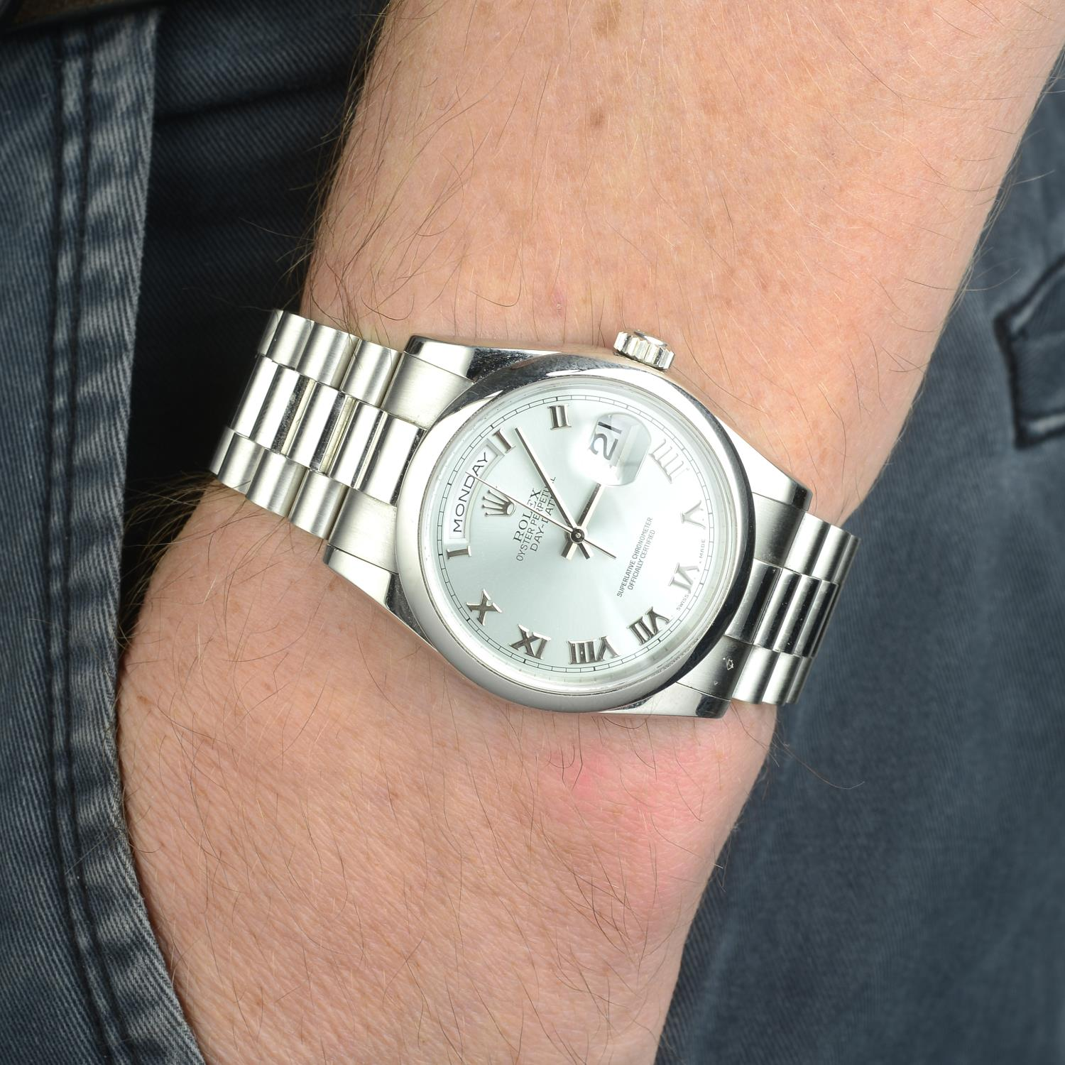 ROLEX - an Oyster Perpetual Day-Date bracelet watch. - Image 3 of 5