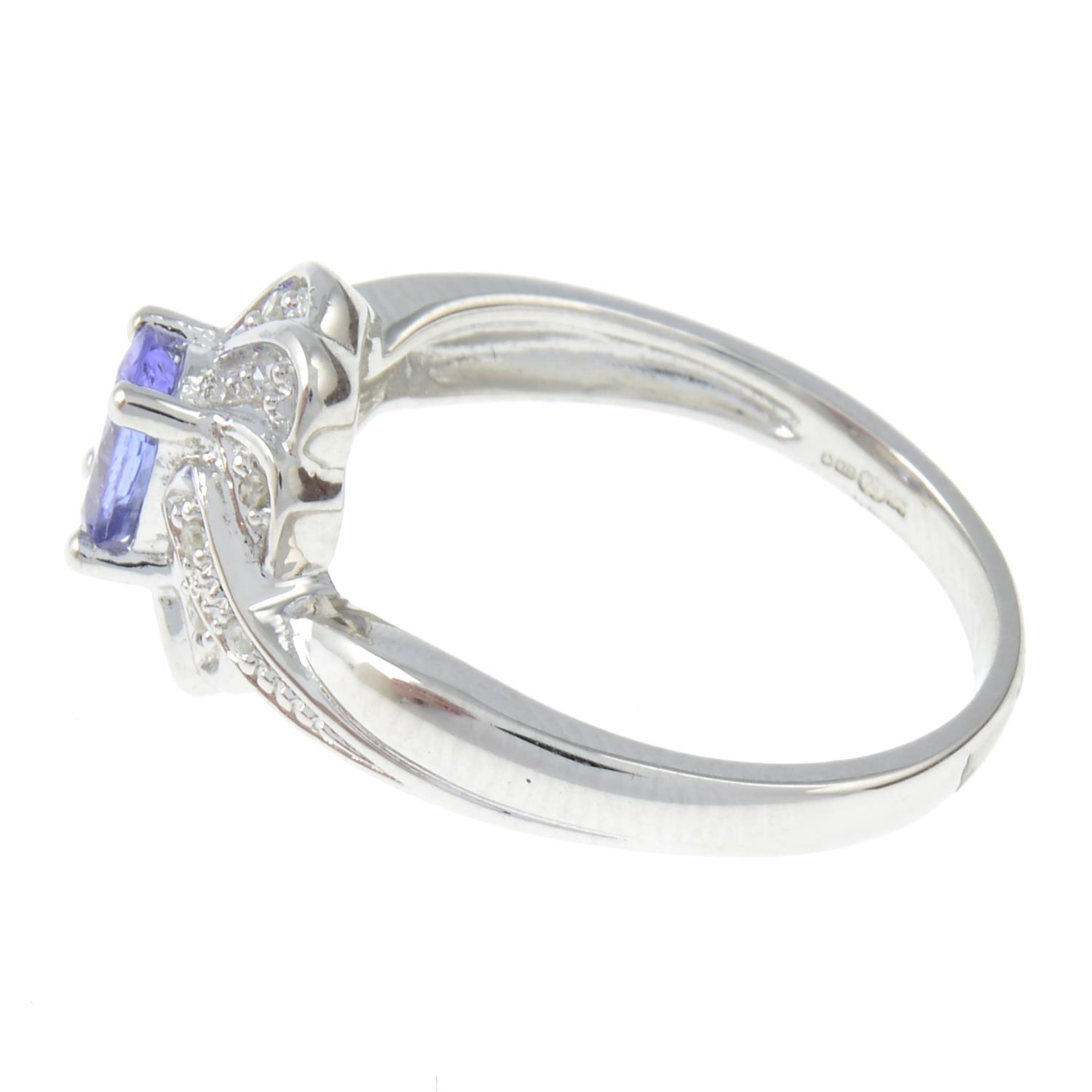 A 9ct gold tanzanite and diamond cluster ring. - Image 2 of 3