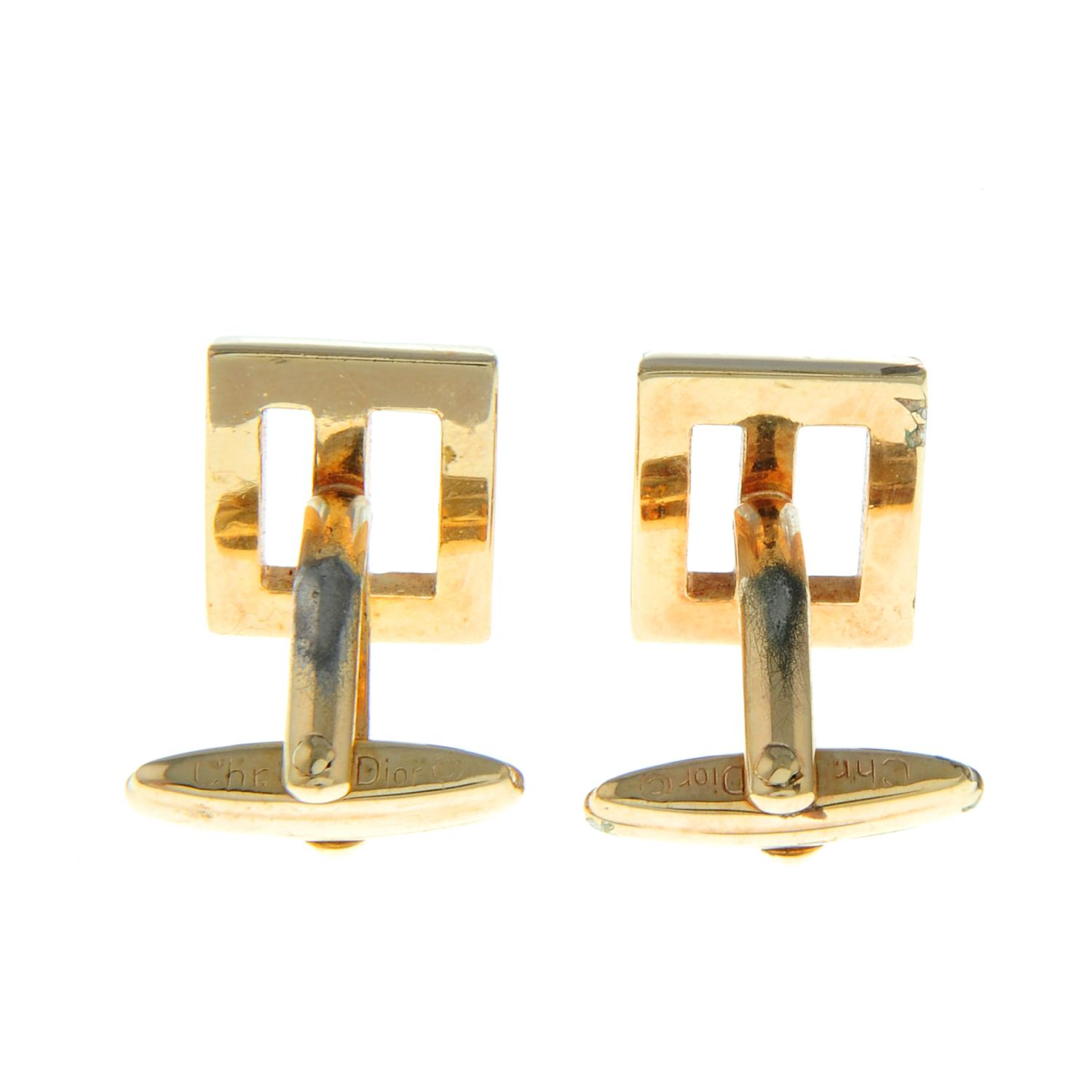 A pair of textured monogram cufflinks, by Christian Dior.Signed Chr. - Image 3 of 3