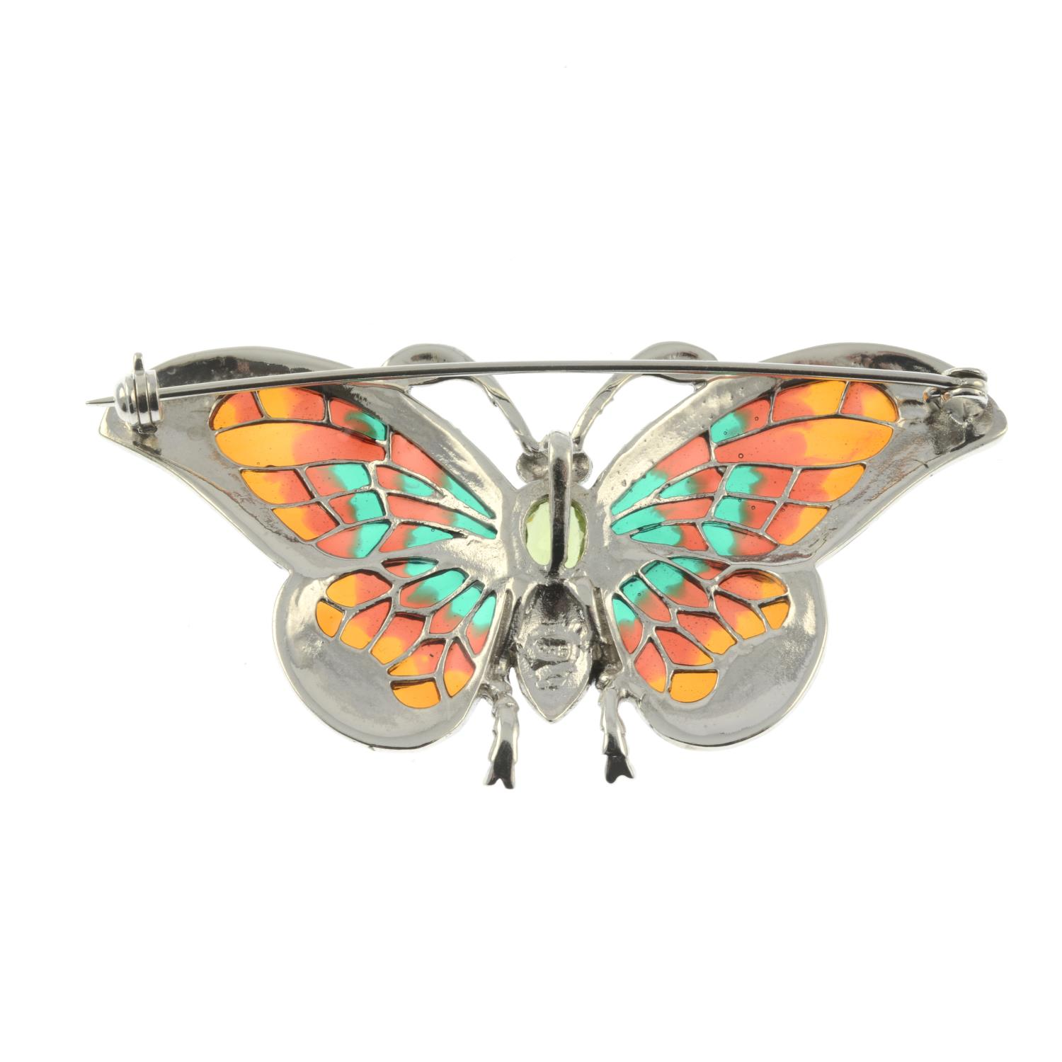 A peridot, pyrite and plique-a-jour enamel brooch of a butterfly.May be worn as a pendant. - Image 2 of 2