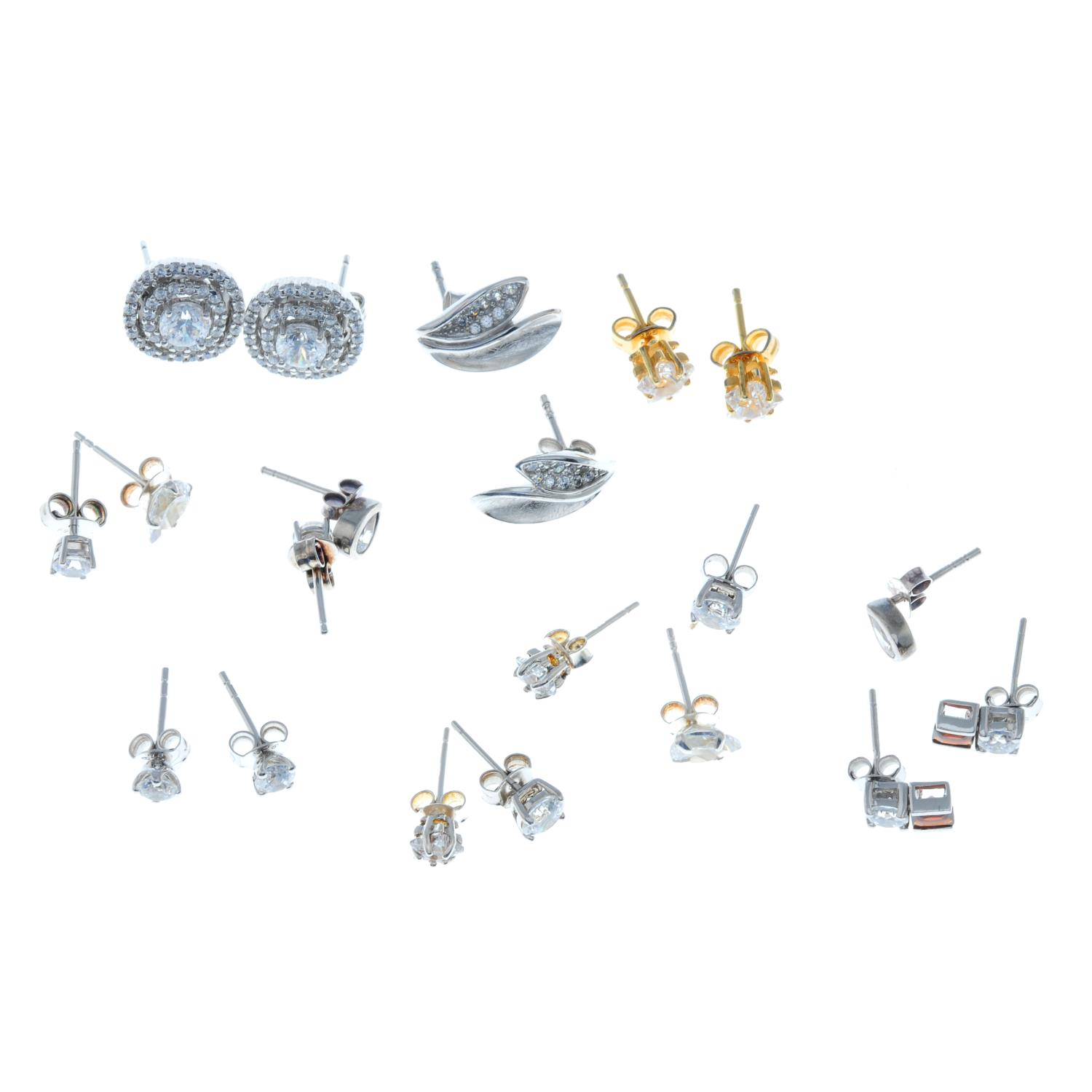A selection of nine cubic zirconia rings and ten pairs of stud earrings.Many with marks to indicate - Image 3 of 3