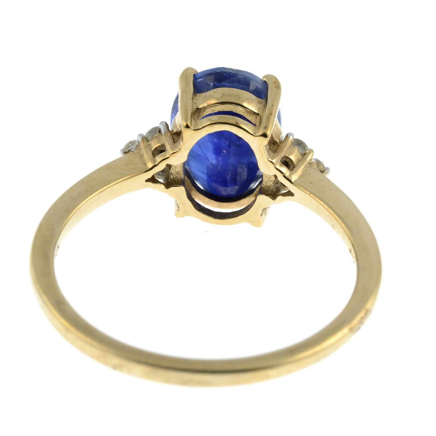 A 9ct gold kyanite and white sapphire ring.Hallmarks for Birmingham. - Image 3 of 3