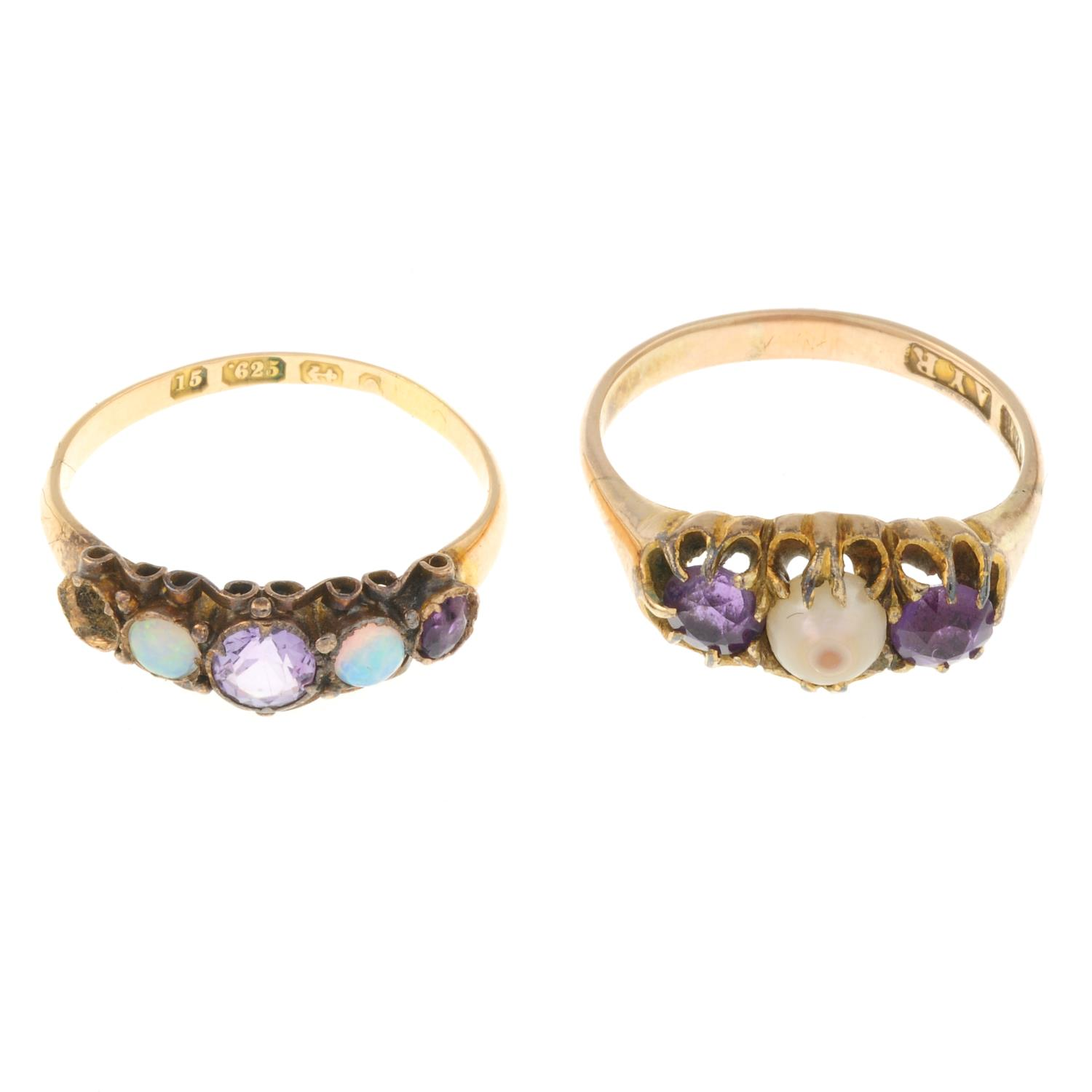 An 15ct gold amethyst and opal ring and an amethyst and cultured pearl ring.