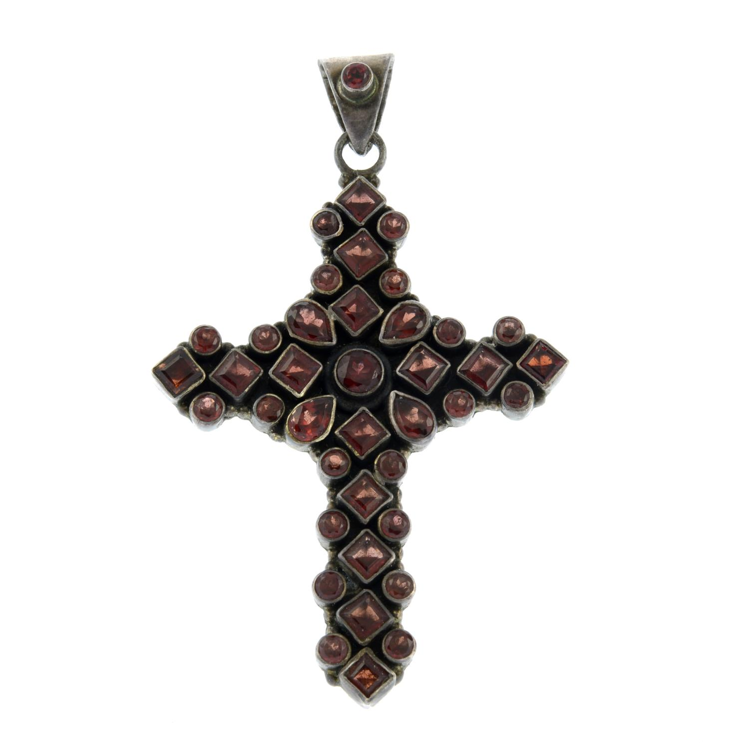 A garnet cross pendant and cultured pearl necklace.Stamped 925.Length of pendant 7.8cms.