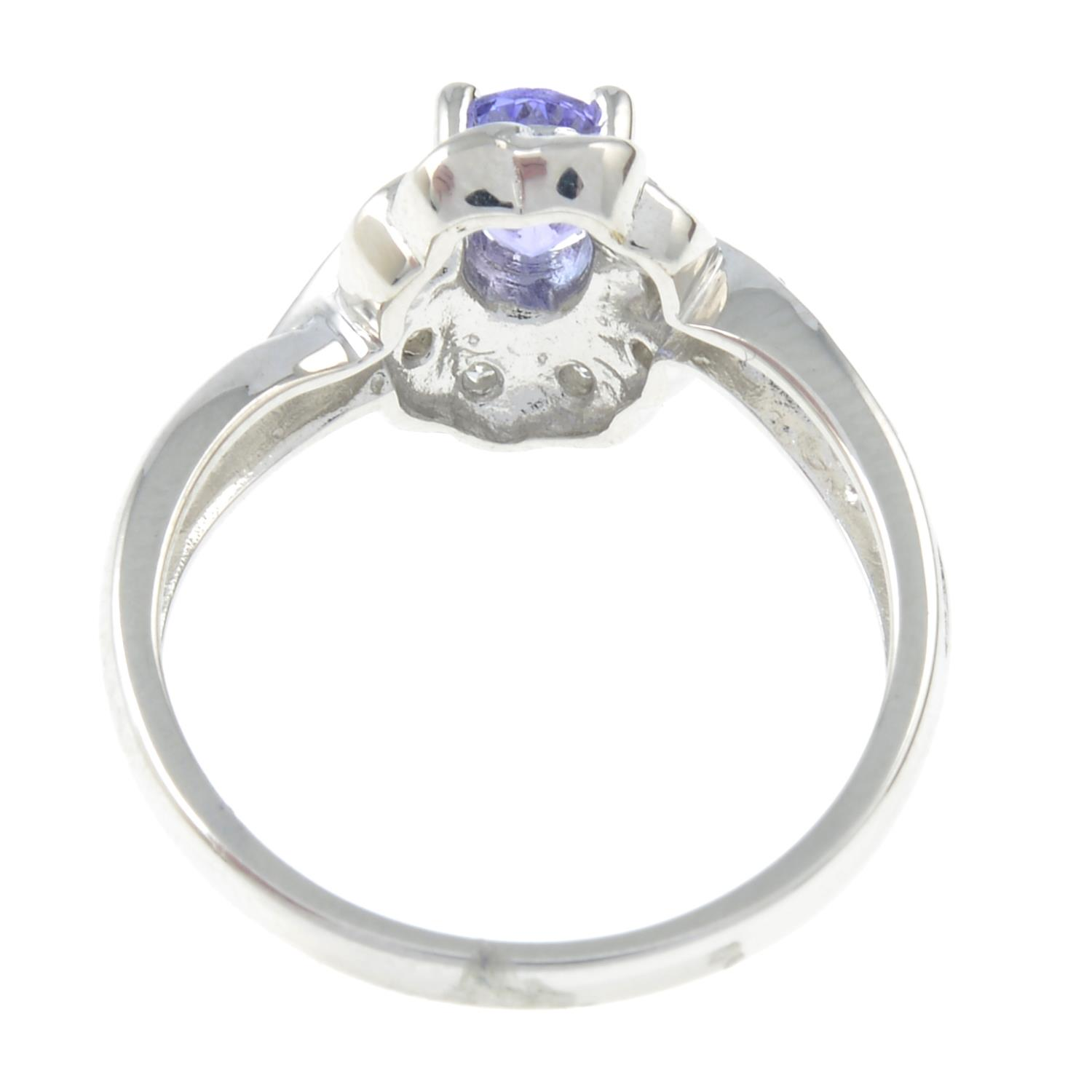 A 9ct gold tanzanite and diamond cluster ring. - Image 3 of 3