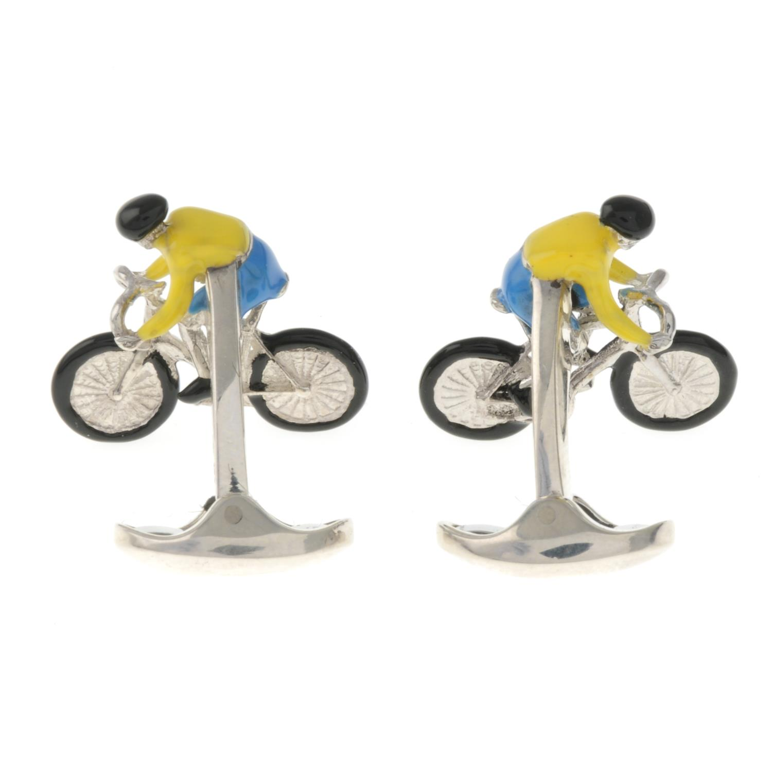 A pair of silver enamel bicycle cufflinks, by Deakin and Francis.Signed D&F. - Image 3 of 3