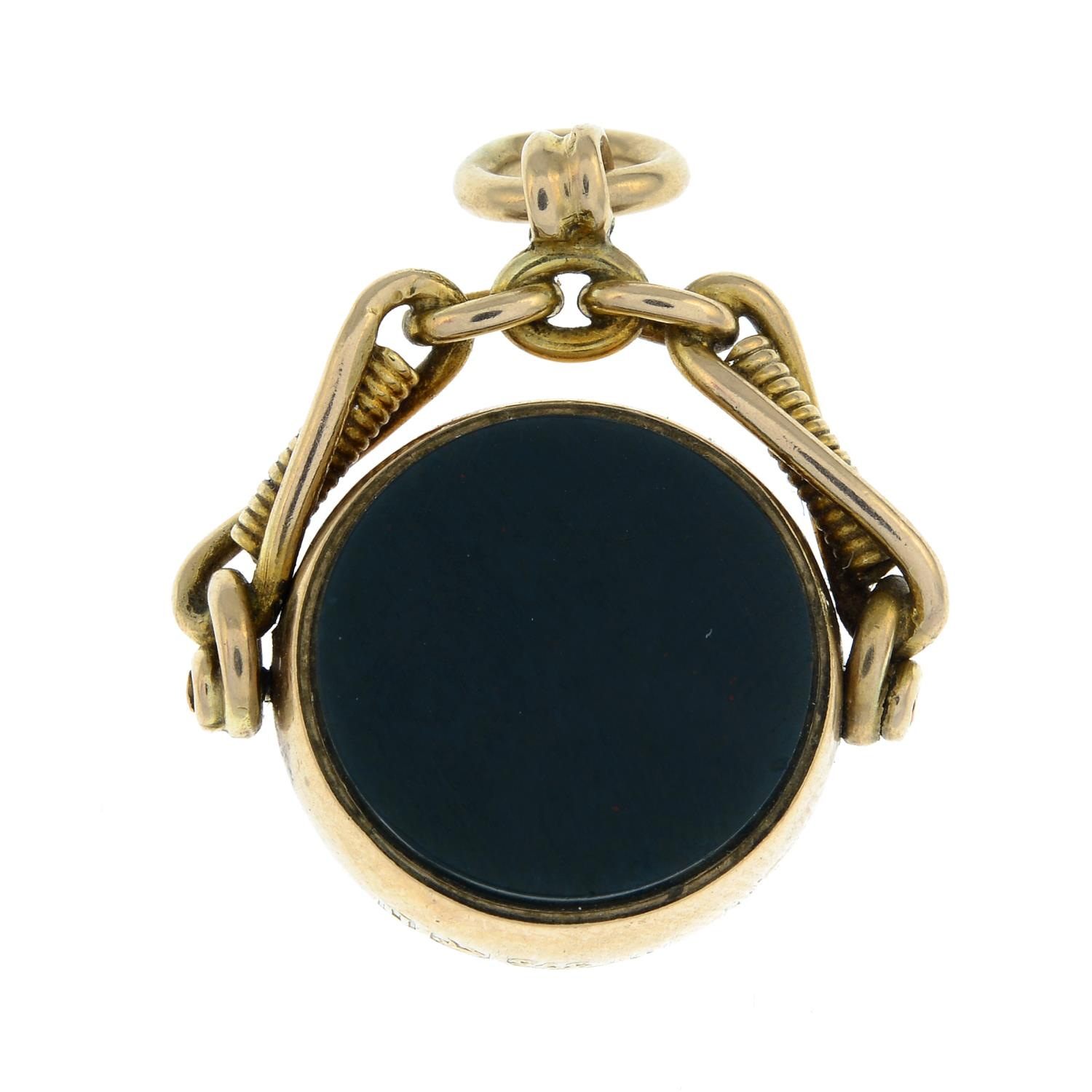 A late Victorian 9ct gold carnelian and bloodstone swivel fob.Hallmarks for Birmingham, - Image 2 of 2