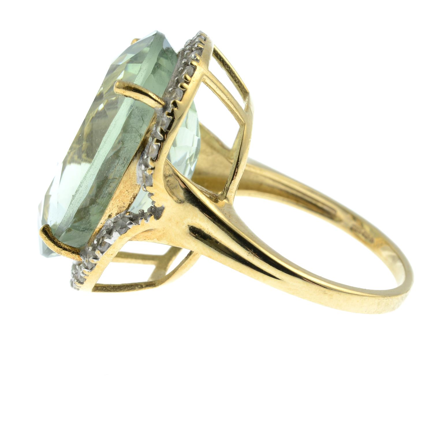 A 9ct gold prasiolite and cubic zirconia dress ring.Hallmarks for Birmingham. - Image 2 of 3