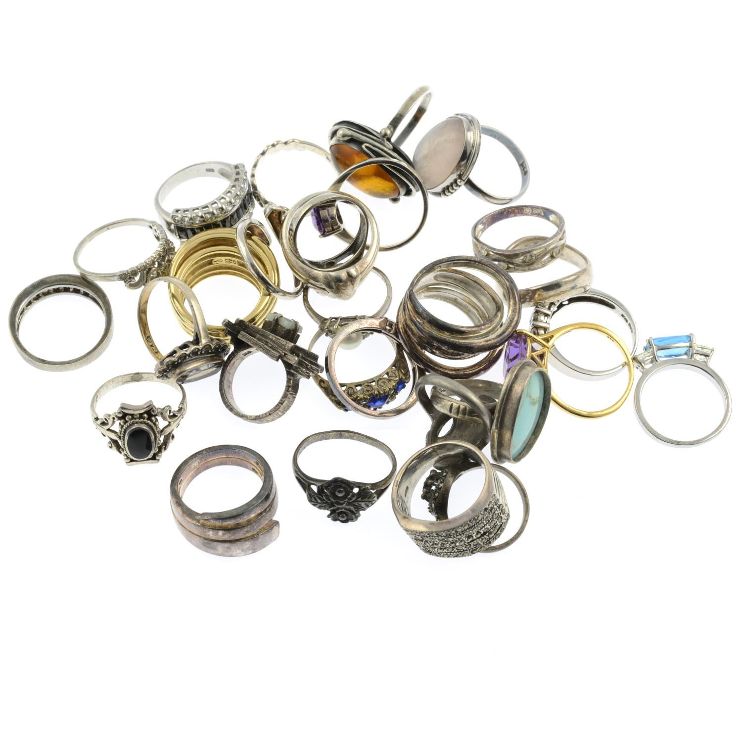 A selection of mainly gem-set rings, to include a silver amber ring. - Image 2 of 2