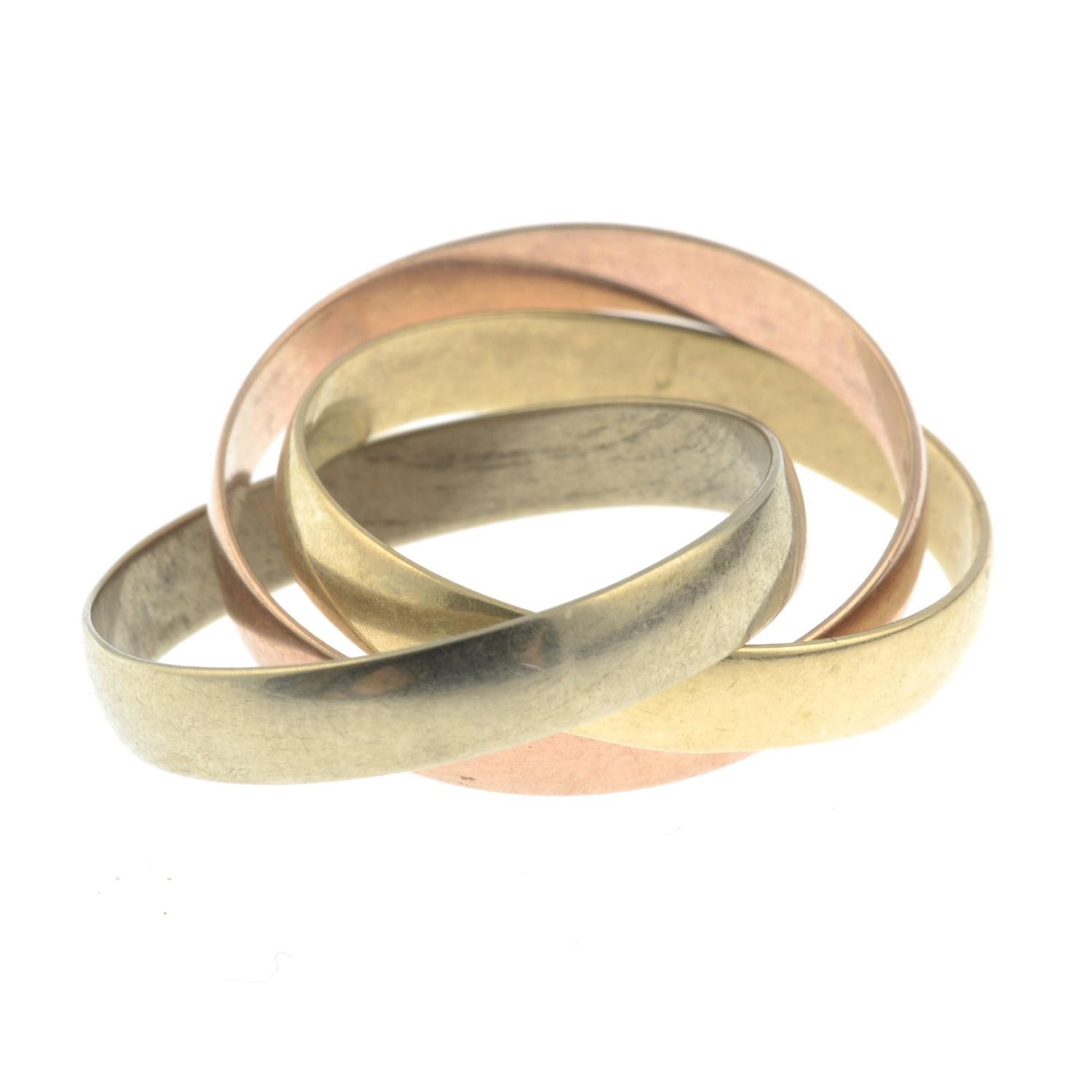 A 9ct gold tri-coloured band ring.Hallmarks for London.Ring size U. - Image 2 of 2