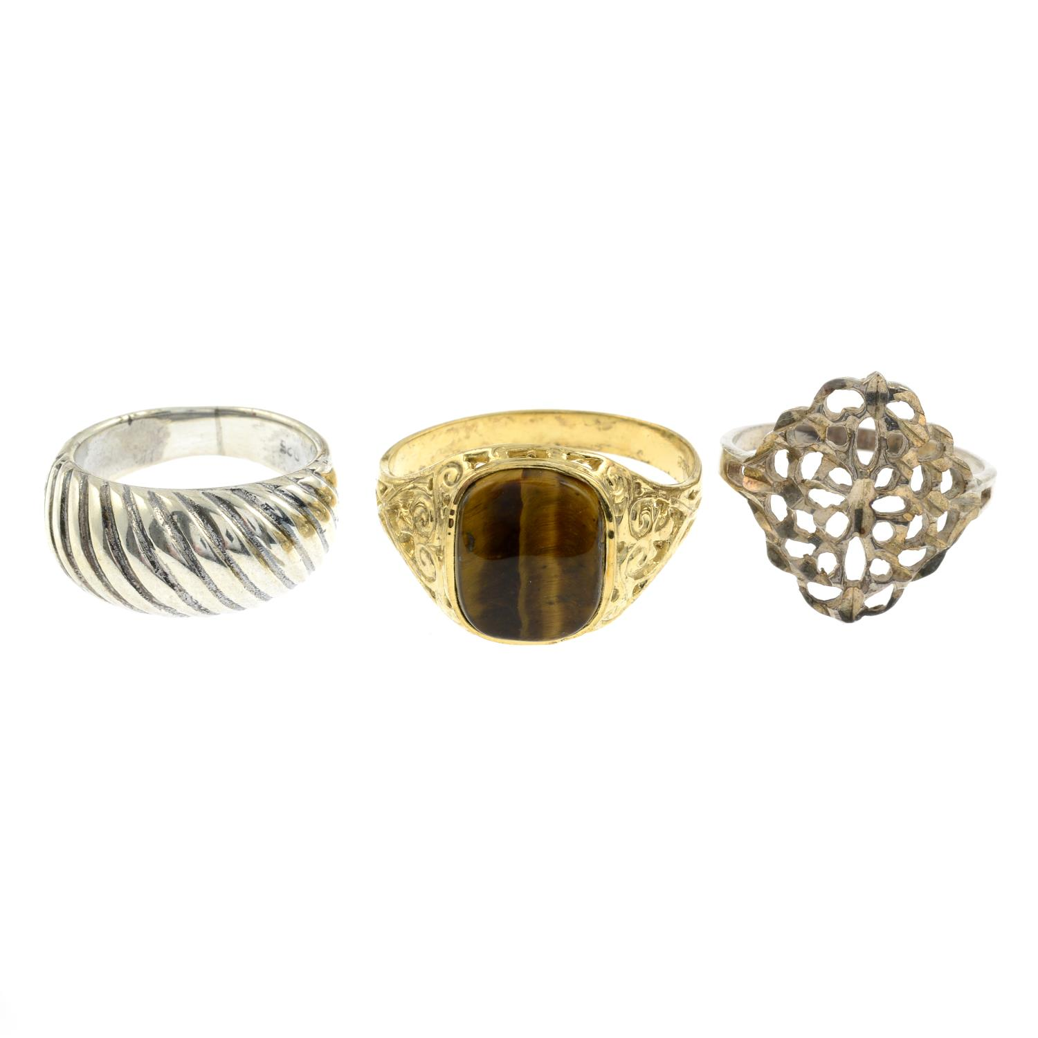A selection of enamel and gem-set rings.Many stamped 925.160gms.