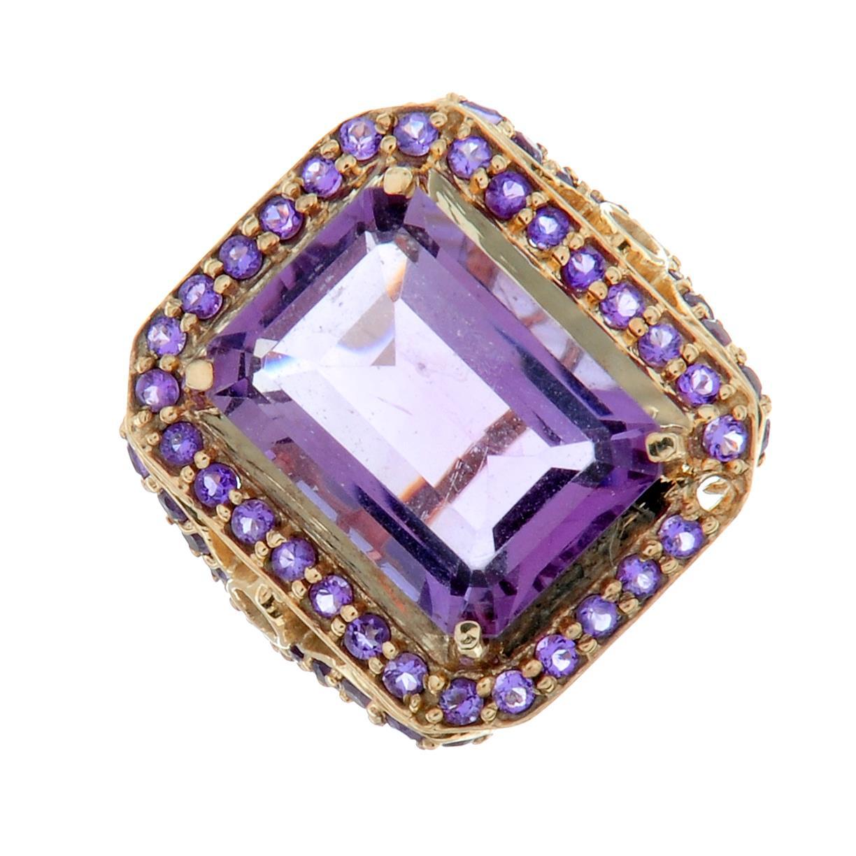 A 9ct gold amethyst dress ring.