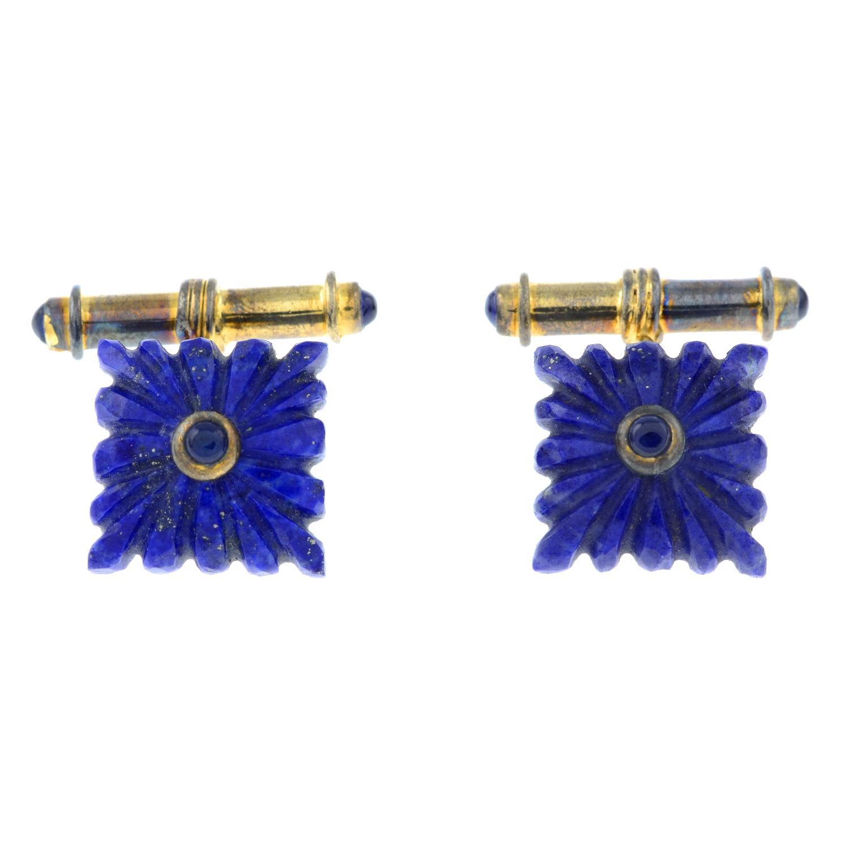 A pair of lapis lazuli cufflinks.Stamped 925.Length of cufflink face 1.4cms 9.1gms.