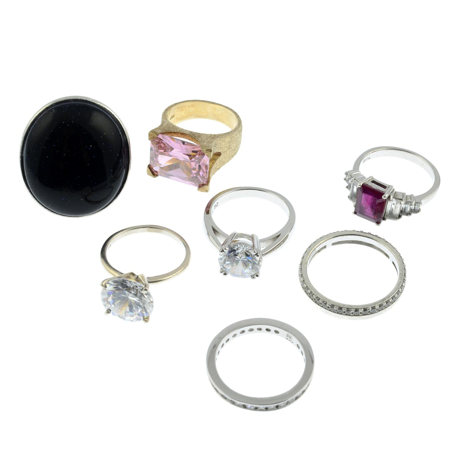 A selection of ten gem-set rings, to include a cubic zirconia eternity ring. - Image 2 of 2