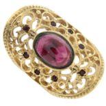 A 9ct gold garnet dress ring.Hallmarks for Birmingham.Ring size N.