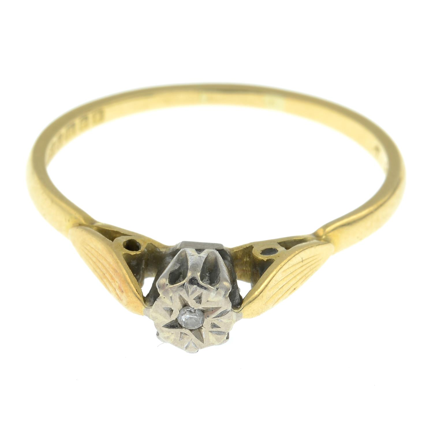 An 18ct gold single stone ring, - Image 2 of 3