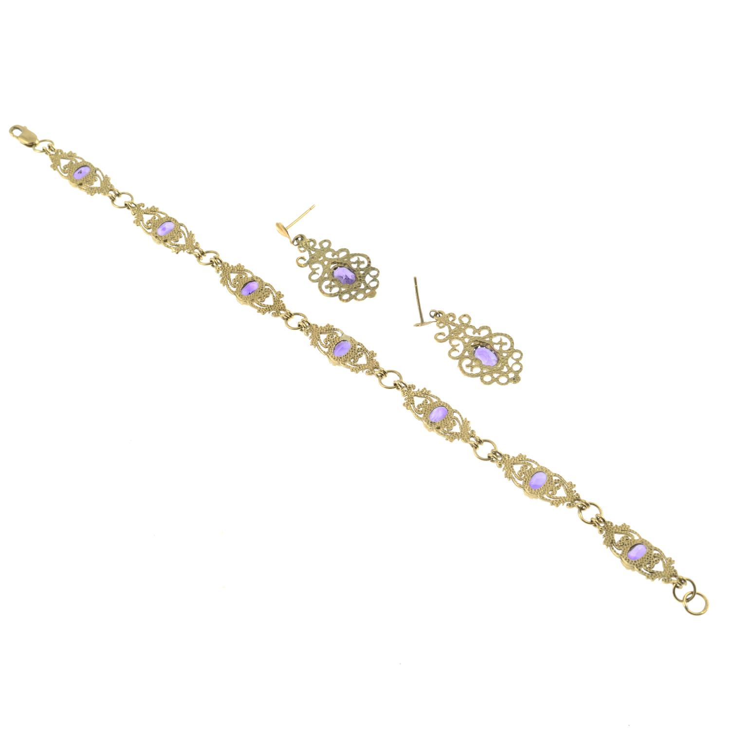 A amethyst bracelet with a pair of 9ct gold amethyst earrings.One with Hallmarks for Birmingham. - Image 3 of 3