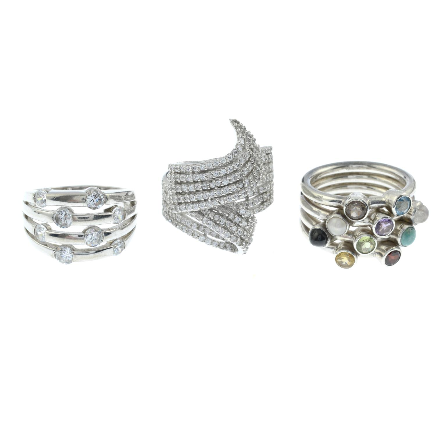 A selection of ten gem-set rings, to include a cubic zirconia eternity ring.