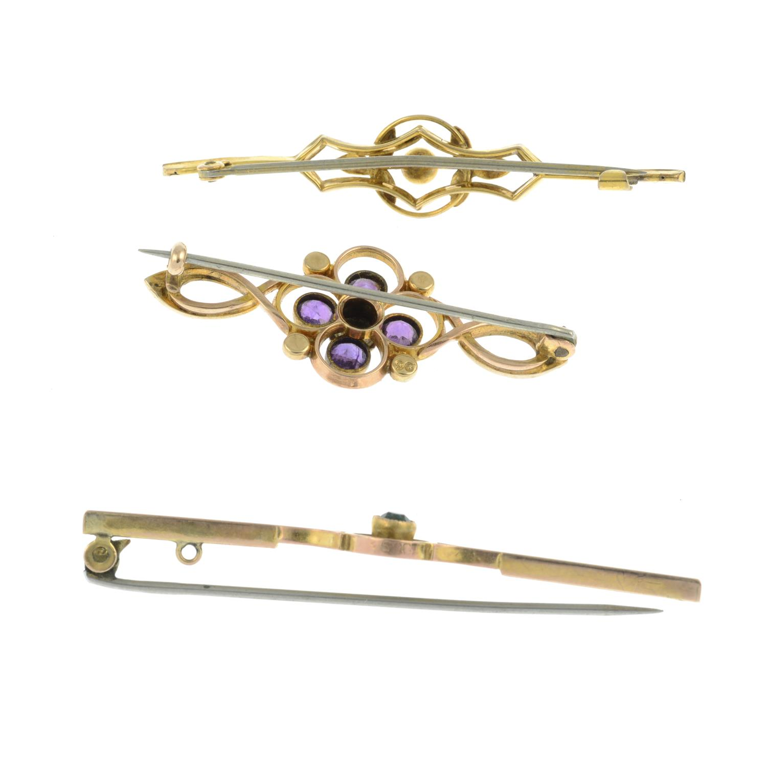 An amethyst and seed pearl brooch, - Image 2 of 2