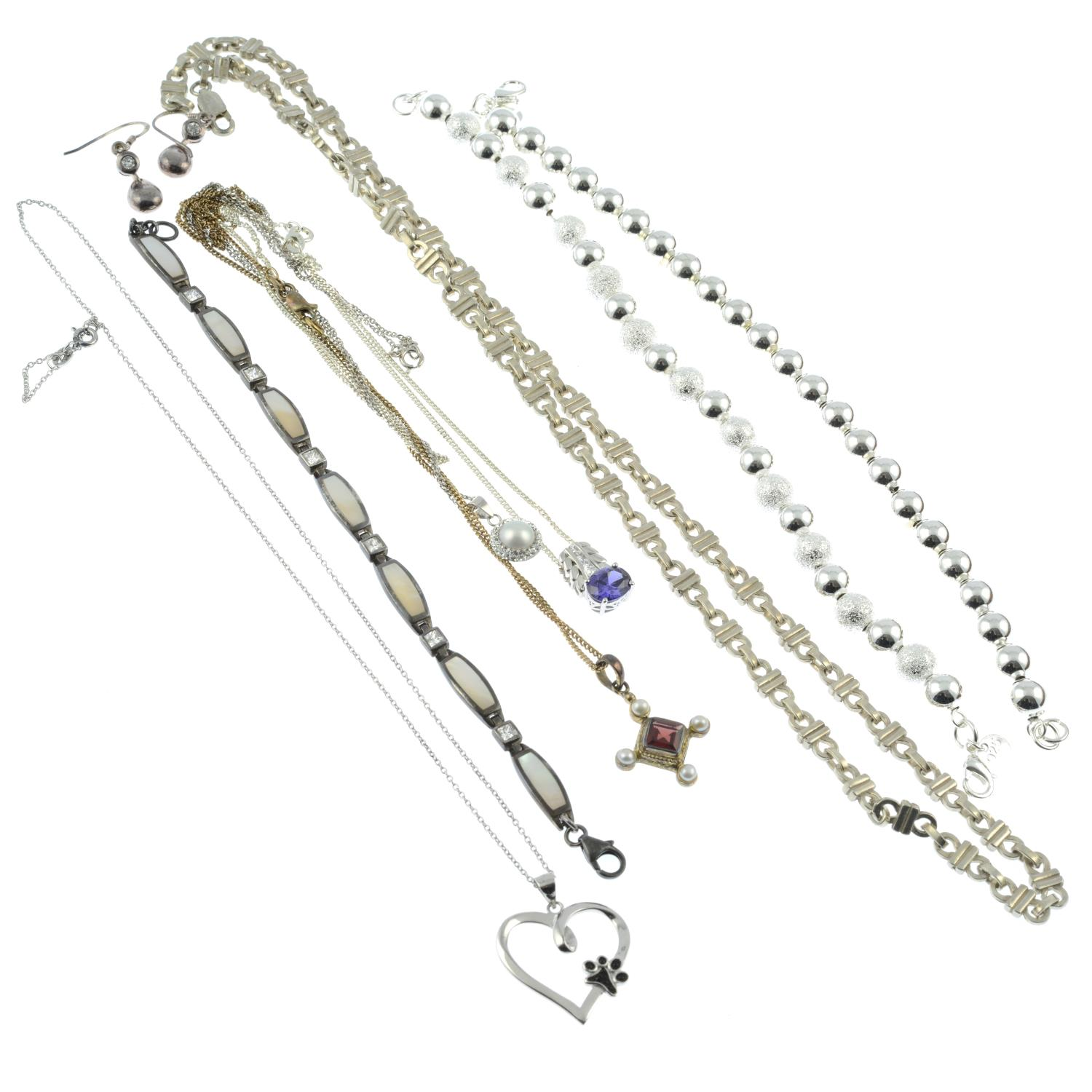A selection of jewellery, to include a mother-of-pearl and cubic zirconia bracelet. - Image 2 of 2