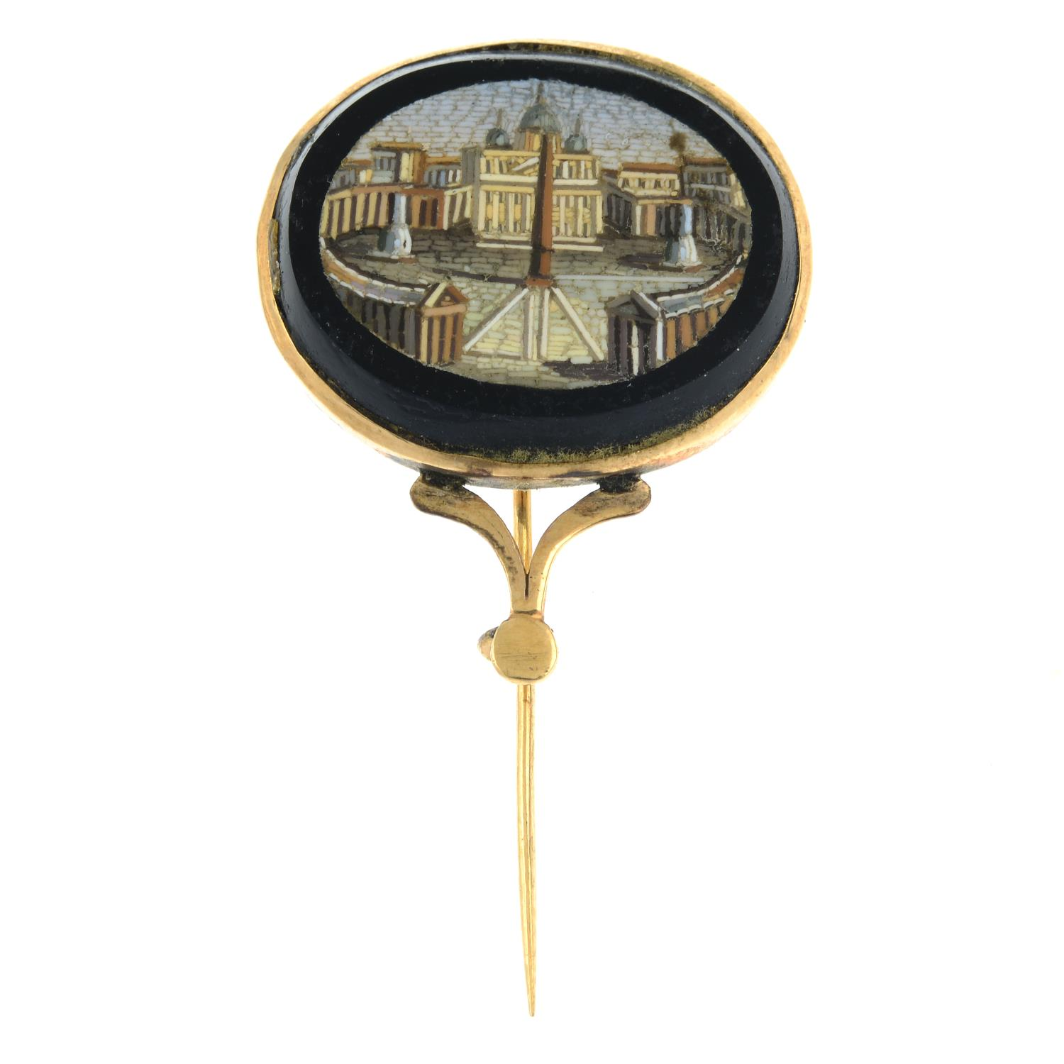 A late Victorian micro mosaic brooch, depicting the Vatican.Length 2.7cms.