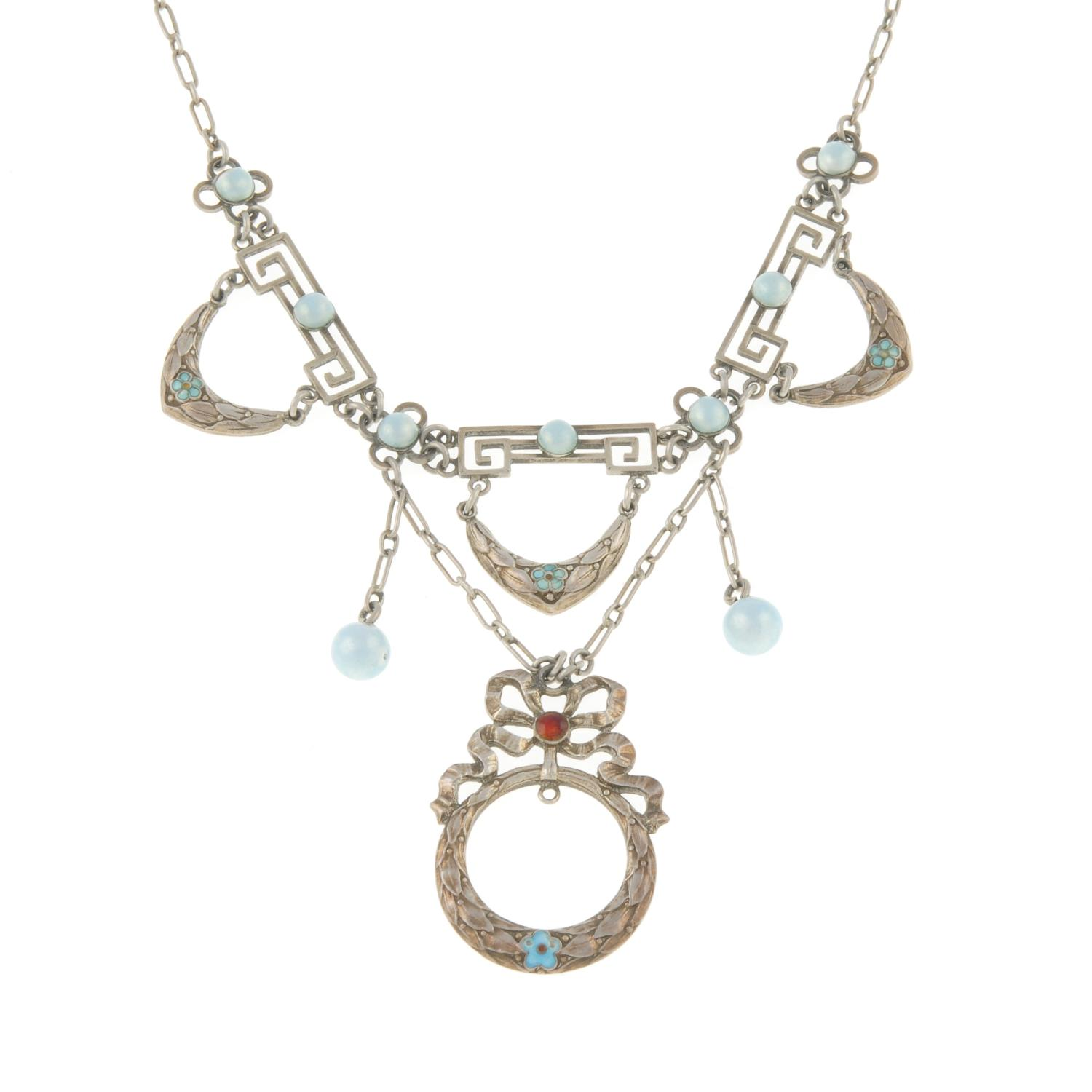 An Edwardian enamel necklace with suspended enamel drops, by Marius Hammer.