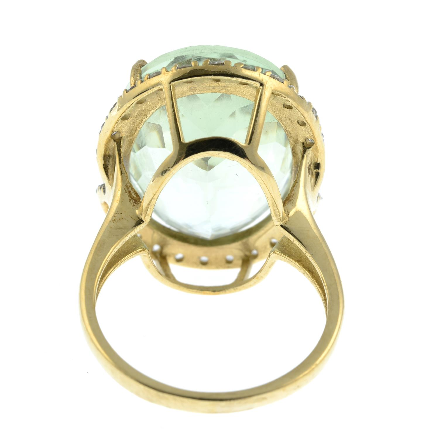 A 9ct gold prasiolite and cubic zirconia dress ring.Hallmarks for Birmingham. - Image 3 of 3