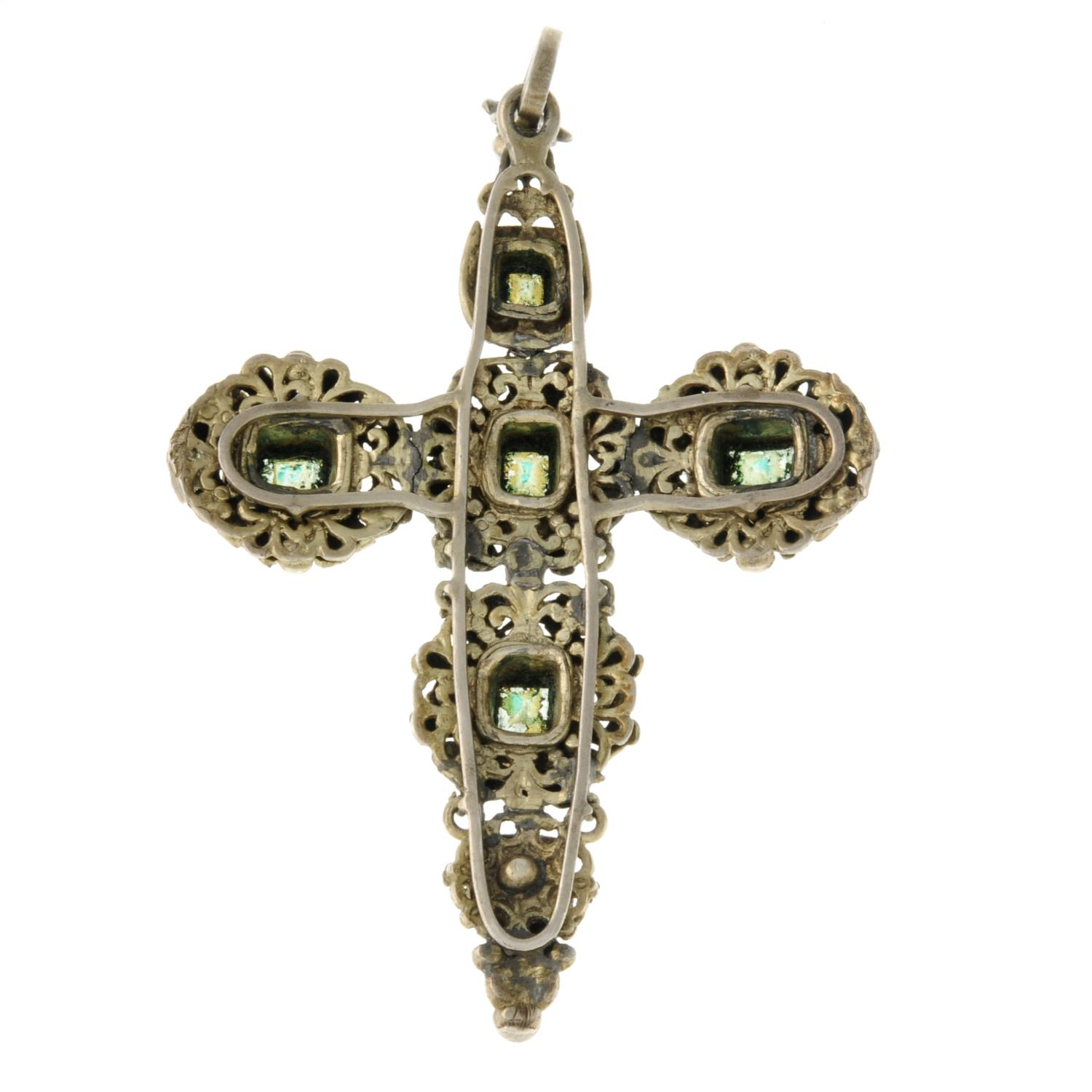 An Austro-Hungarian silver gilt green beryl, paste and seed pearl cross pendant.Length 8.4cms. - Image 2 of 2