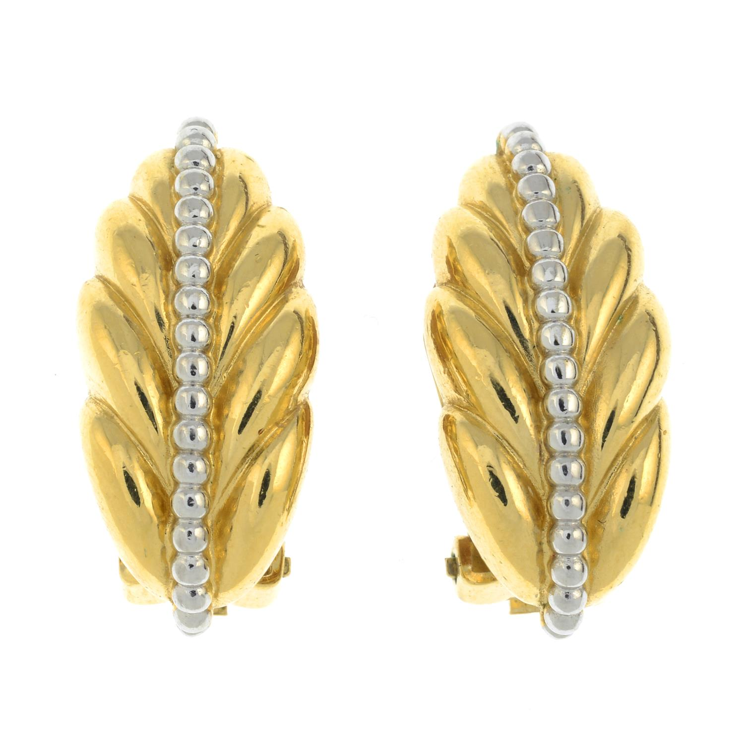 A pair of clip-on earrings of feather design, by Burberry.Signed Burberrys.Length 3.9cms.