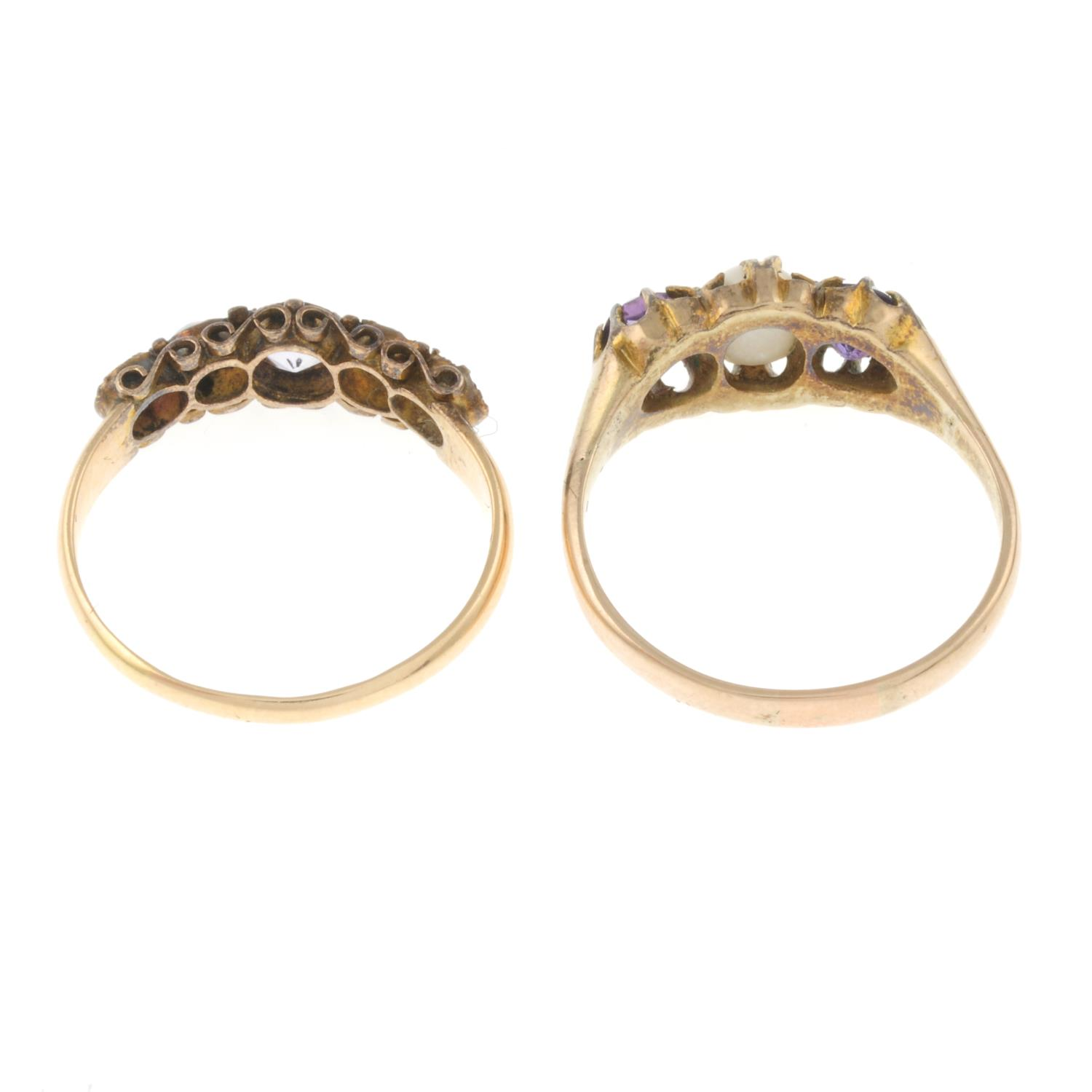An 15ct gold amethyst and opal ring and an amethyst and cultured pearl ring. - Image 3 of 3