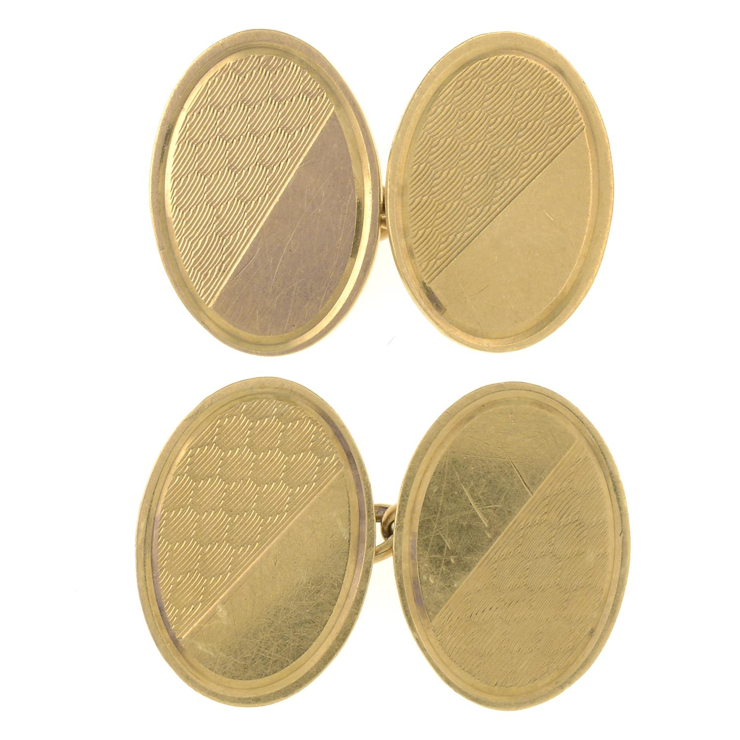 A pair of mid 19th century 9ct gold cufflinks.Hallmarks for Sheffield.Length of cufflink face