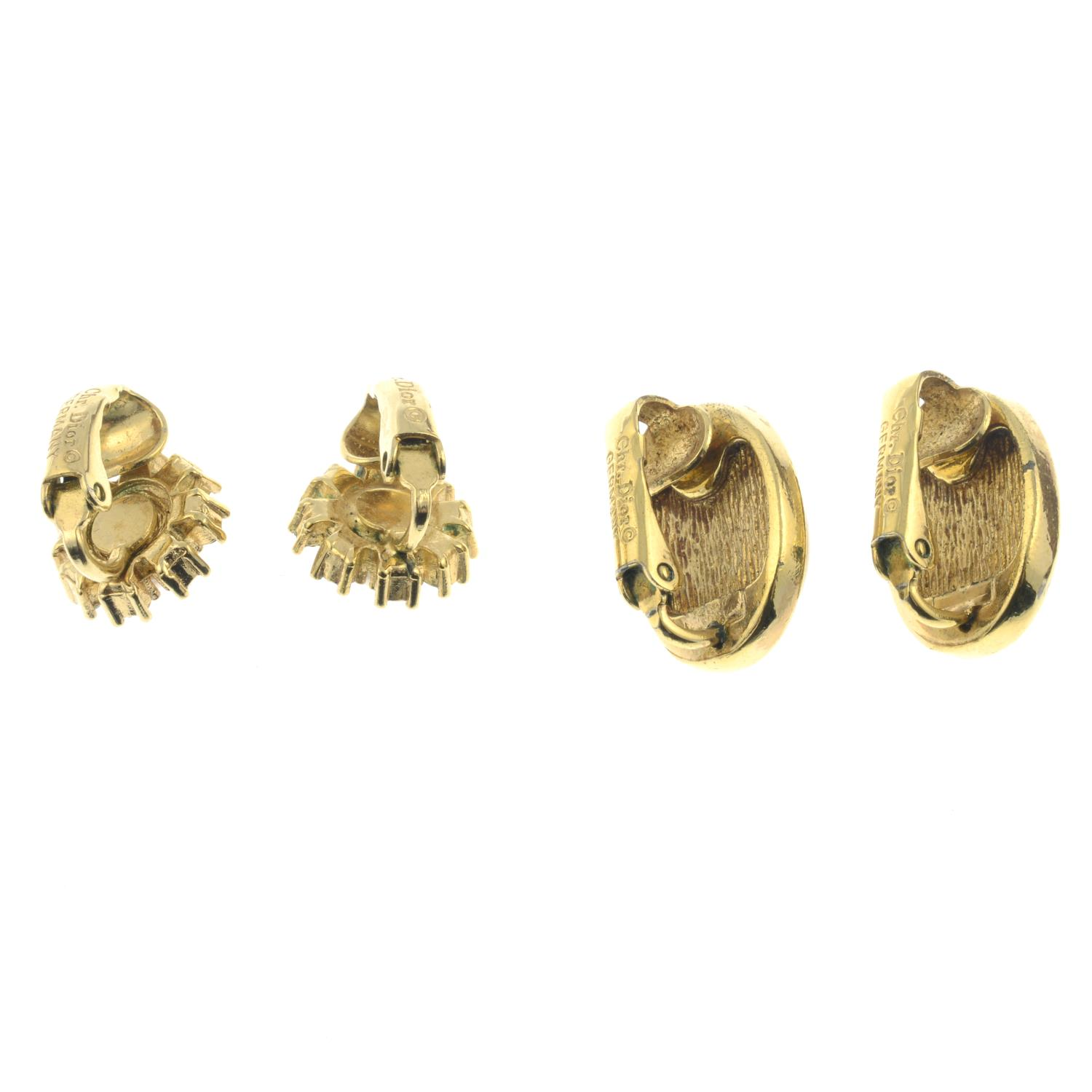 Two pairs of imitation pearl and paste clip-on earrings, by Christian Dior.Signed Chr. - Image 2 of 2