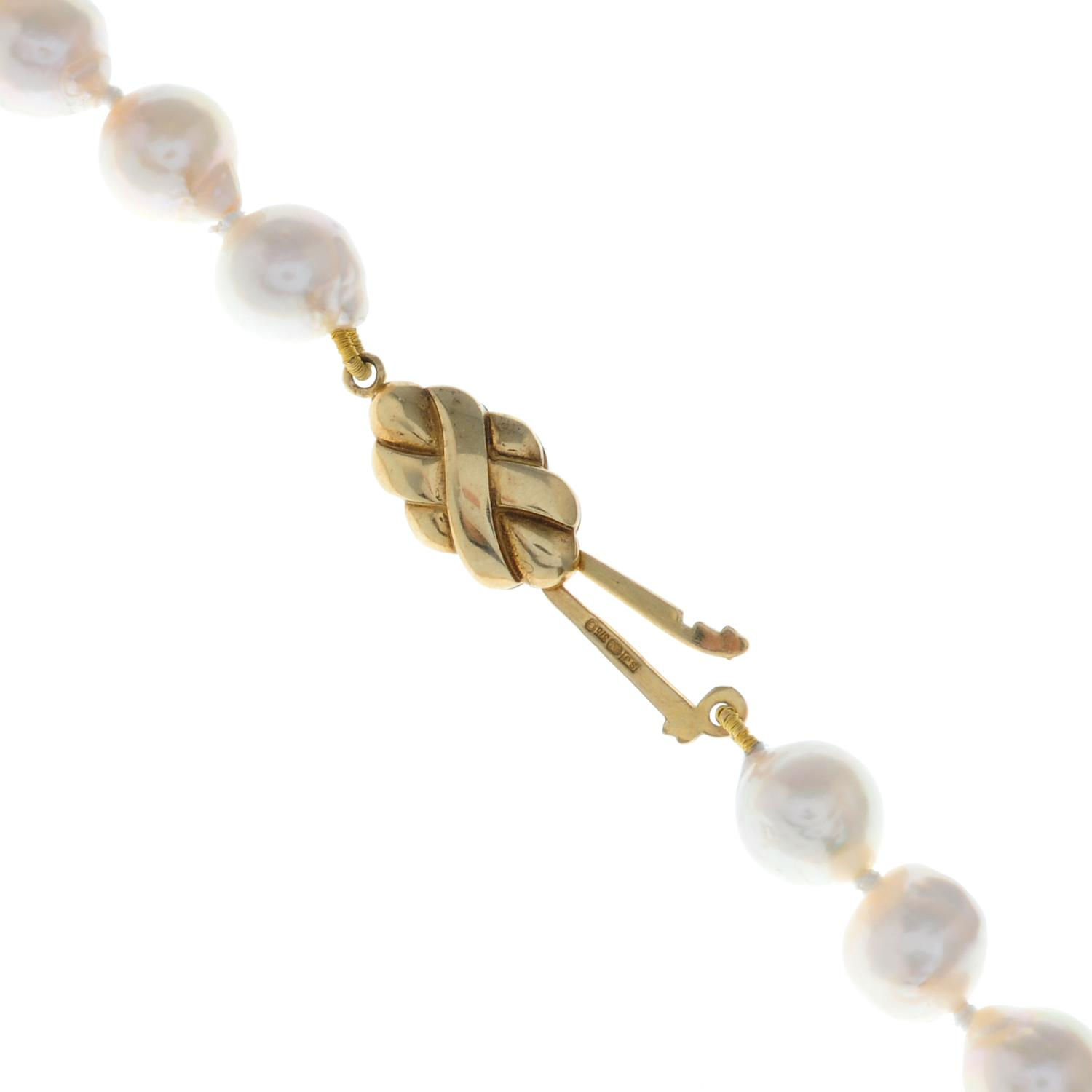A cultured baroque pearl necklace, - Image 2 of 2