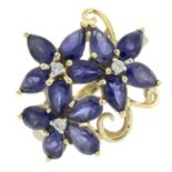 A 9ct gold iolite and diamond dress ring of floral design.Hallmarks for Birmingham.