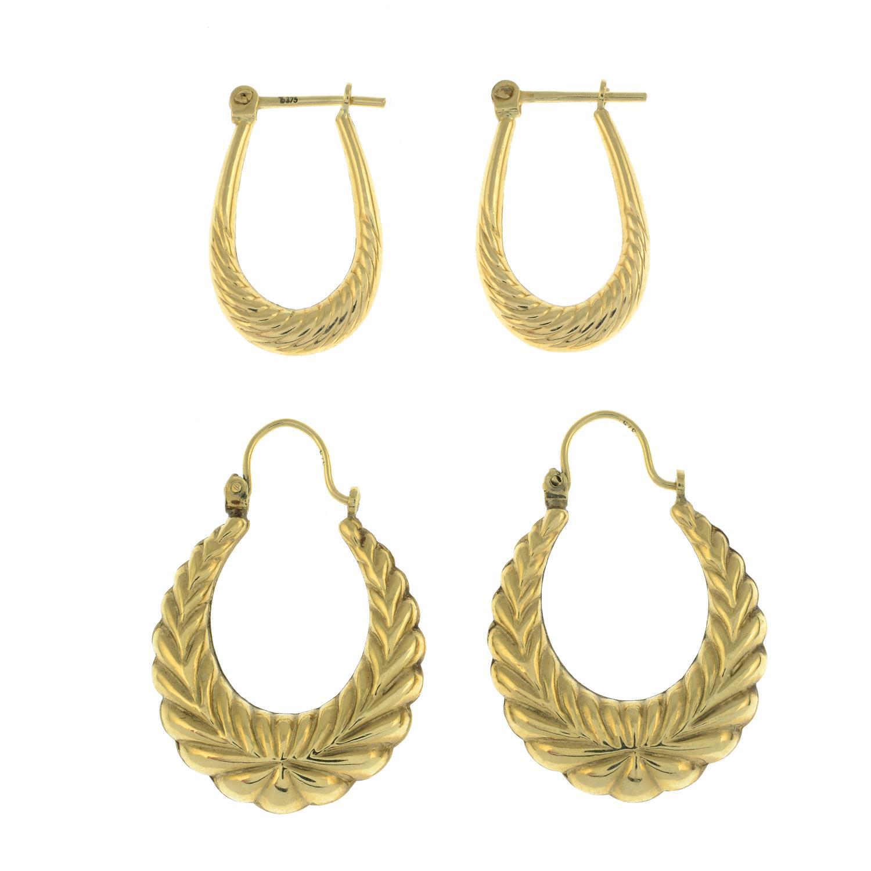 A pair of amethyst stud earrings and two pairs of hoops.Stud earrings stamped 10K. - Image 2 of 3