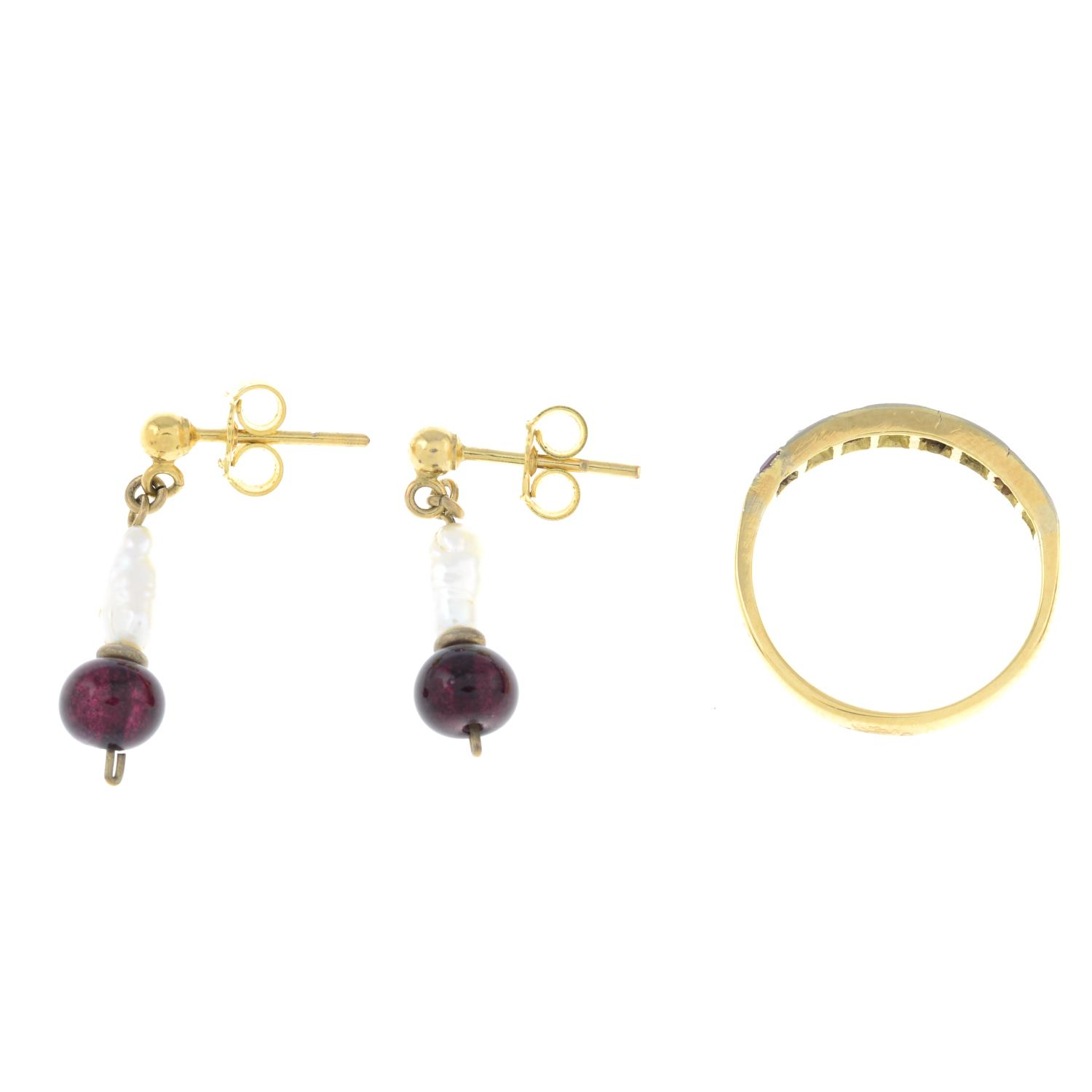 A ruby and diamond ring, together with a pair of 9ct gold pearl and paste earrings.ring size J. - Image 2 of 2
