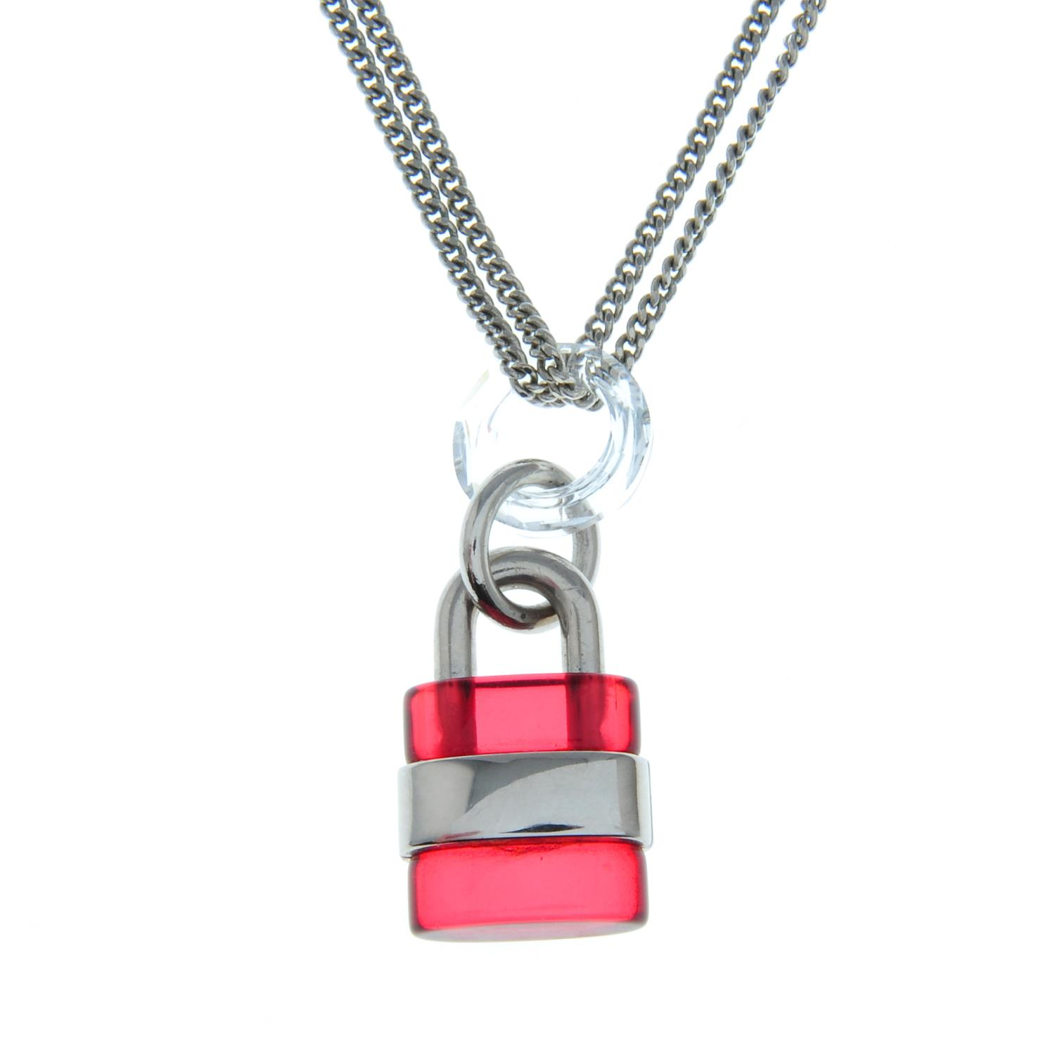 A red padlock necklace, by Chloé. - Image 2 of 3