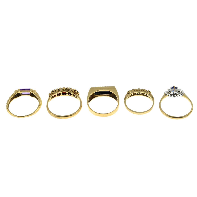 Five 9ct gold gem-set rings, - Image 3 of 3