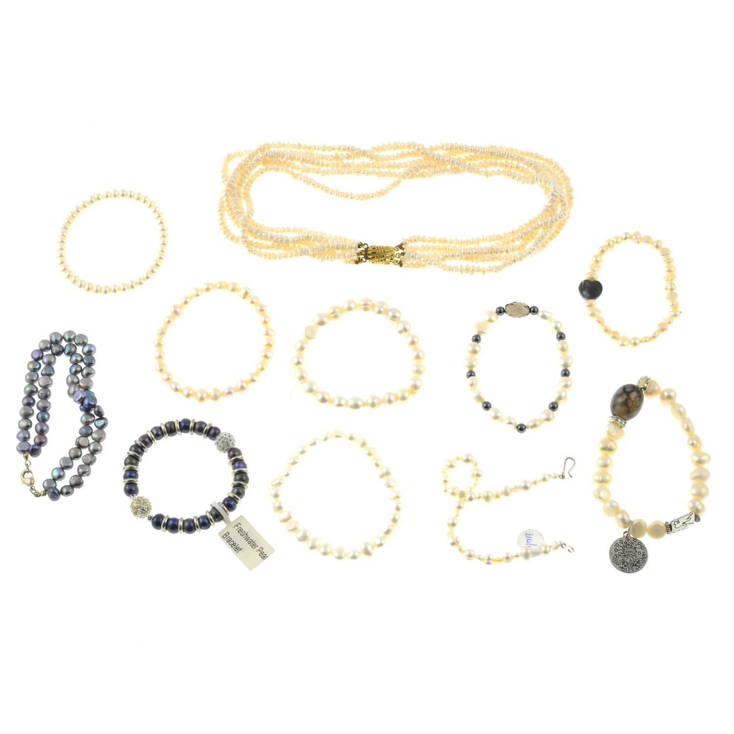 A freshwater pearl five strand necklace and fourteen cultured pearl bracelets.Length of necklace - Image 2 of 2