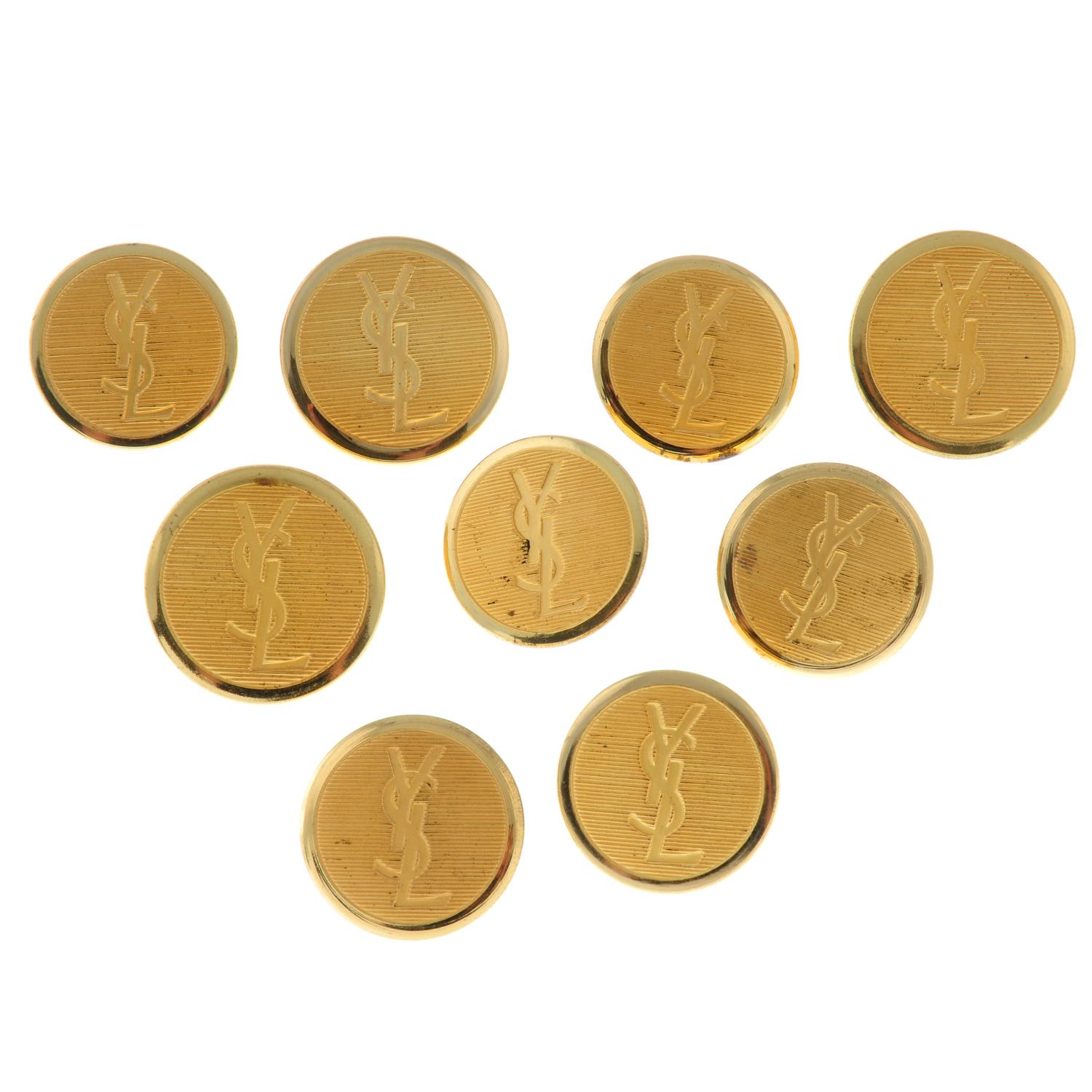 Nine textured monogram buttons, by Yves Saint Laurent.Lengths 2.7 and 3cms. - Image 2 of 3