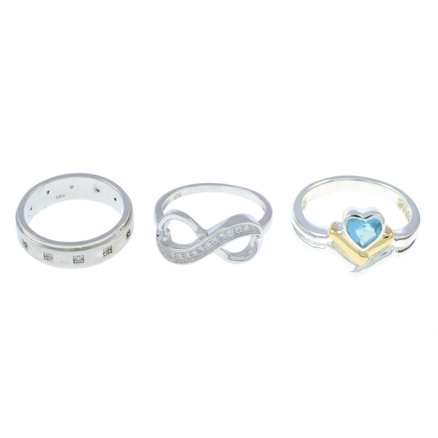 A selection of rings, to include fourteen cubic zirconia infinity rings.All stamped 925.123.9gms.
