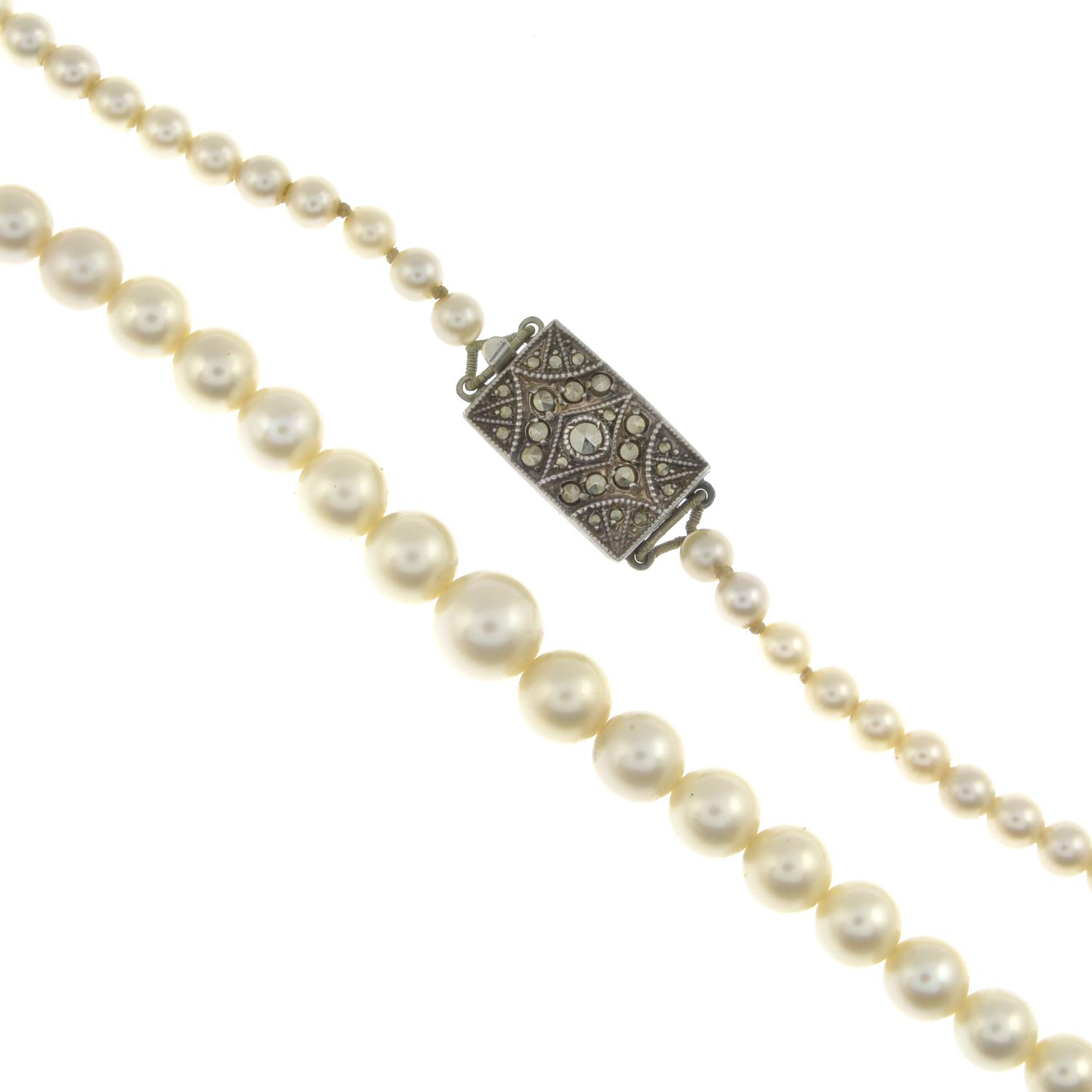 Eight cultured pearl necklaces and twelve strands.One with hallmarks for 9ct gold.